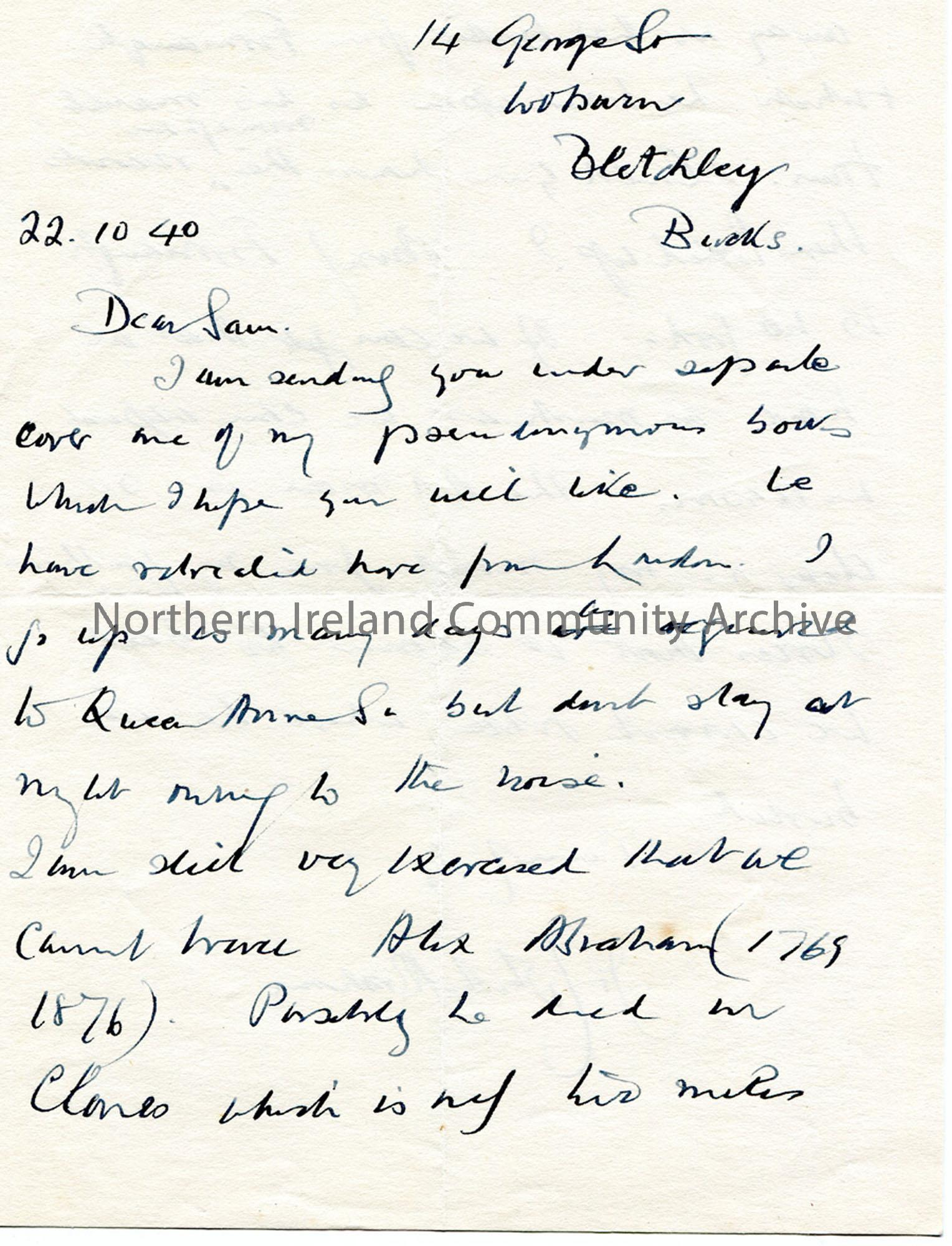 Letter from James Johnston Abraham 22.10.1940 (1)
