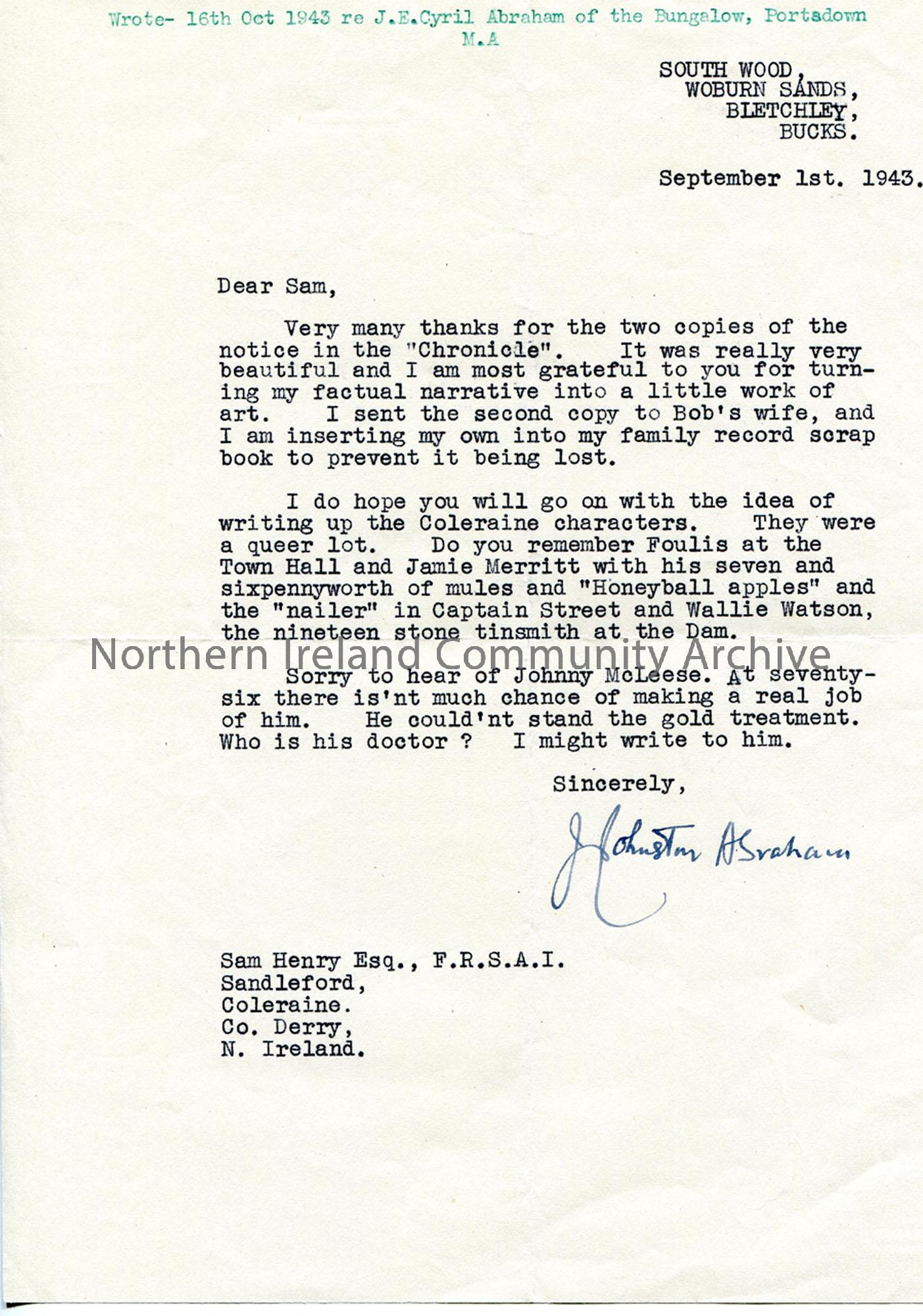 Letter from James Johnston Abraham 1.9.1943