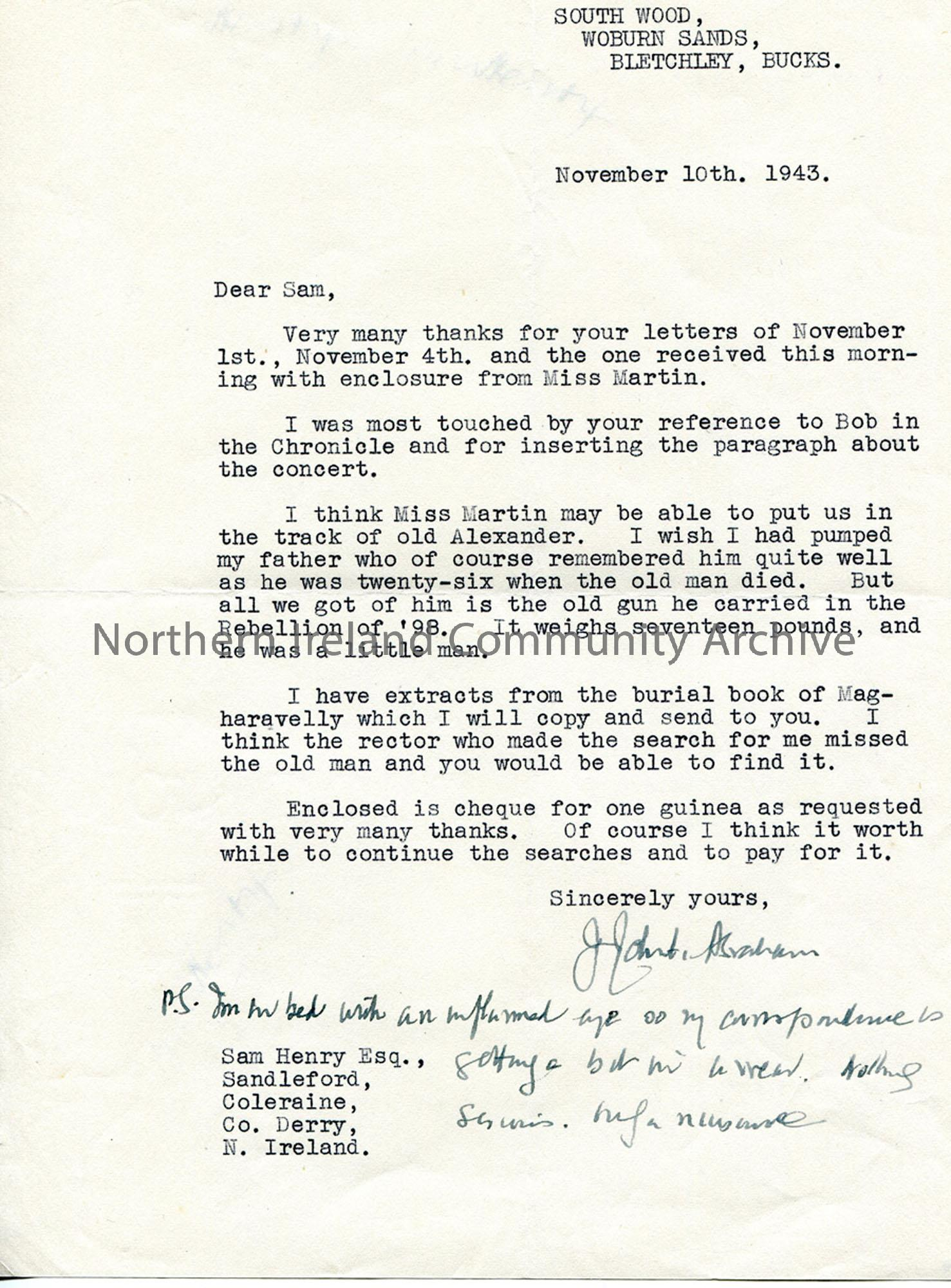 Letter from James Johnston Abraham 10.11.1943