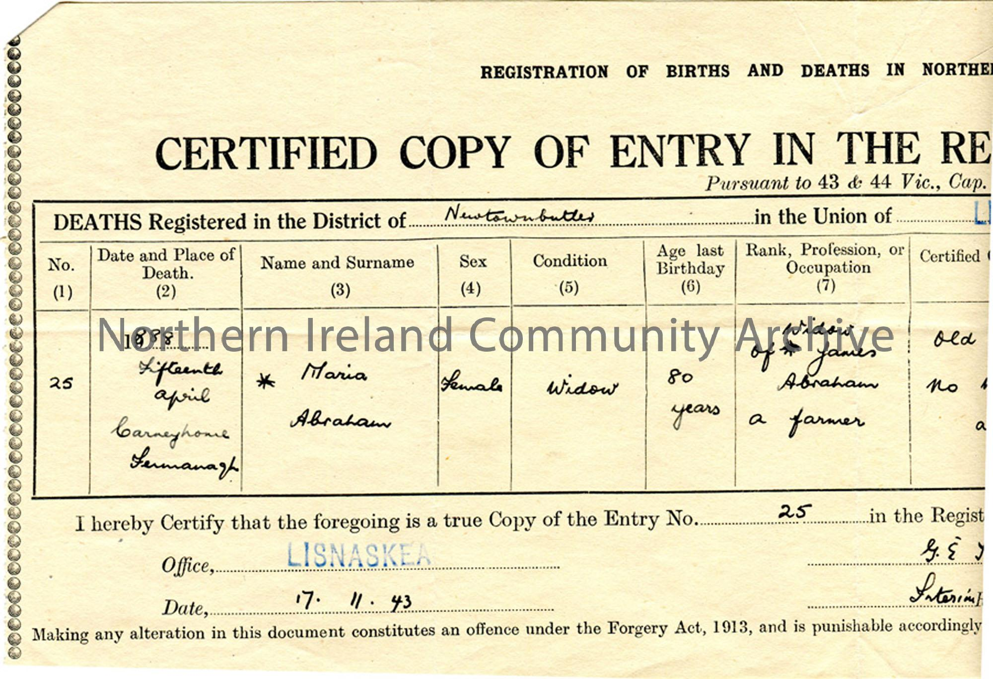 Death Certificate of Maria Abraham, Fermanagh