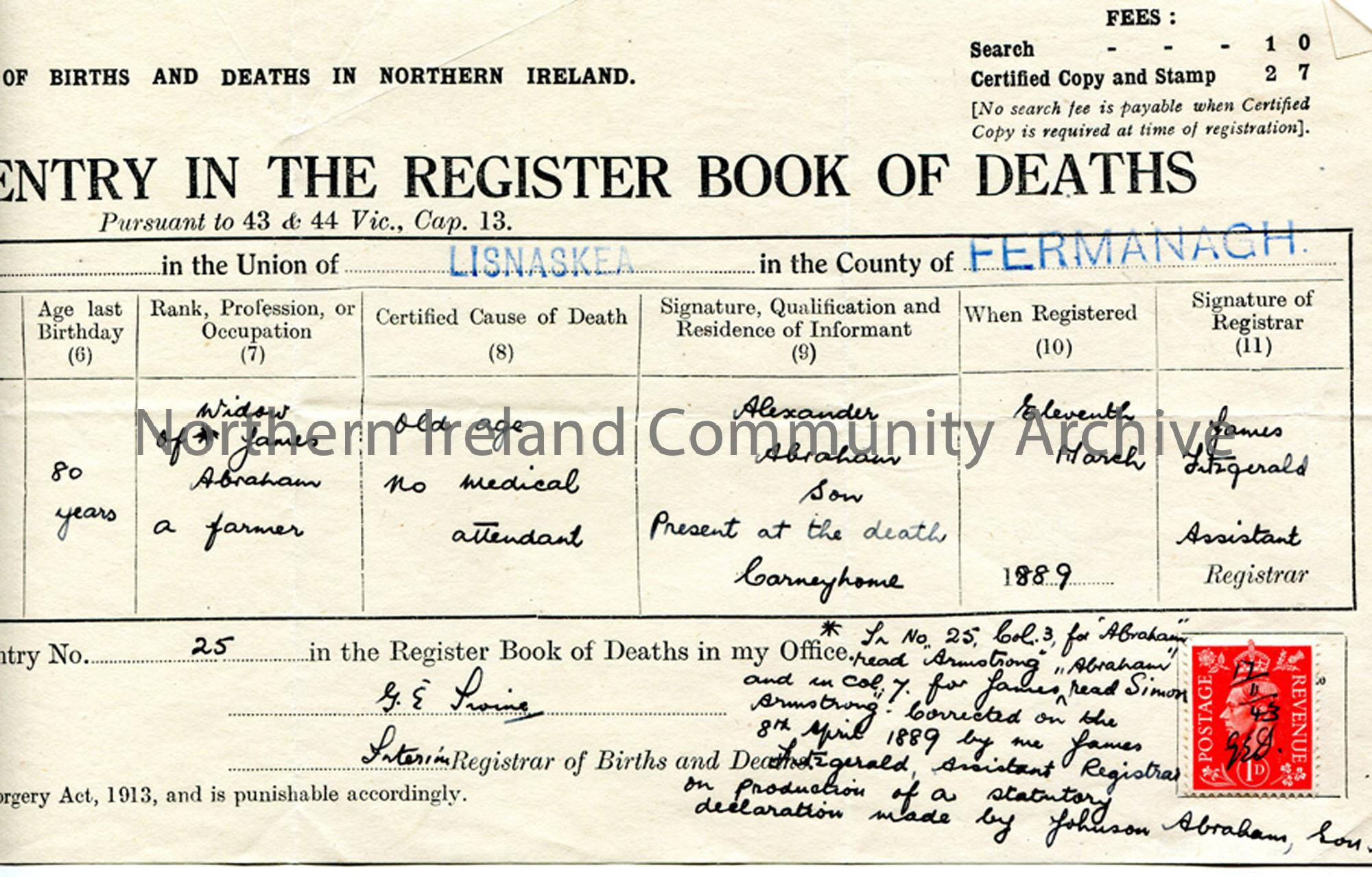 Death Certificate of Maria Abraham, Fermanagh (2)