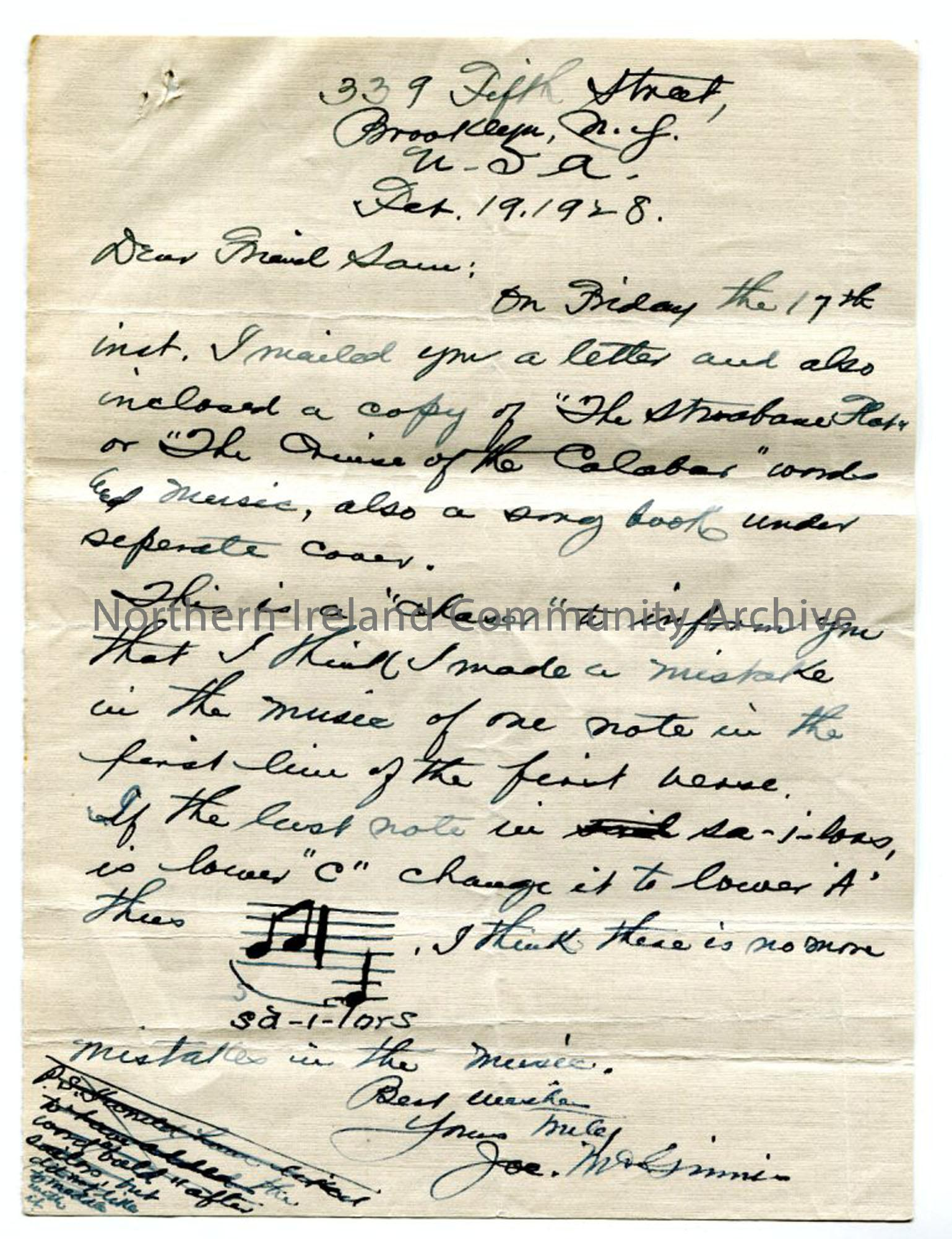 Letter from Joseph McGinnis, 19th February 1928