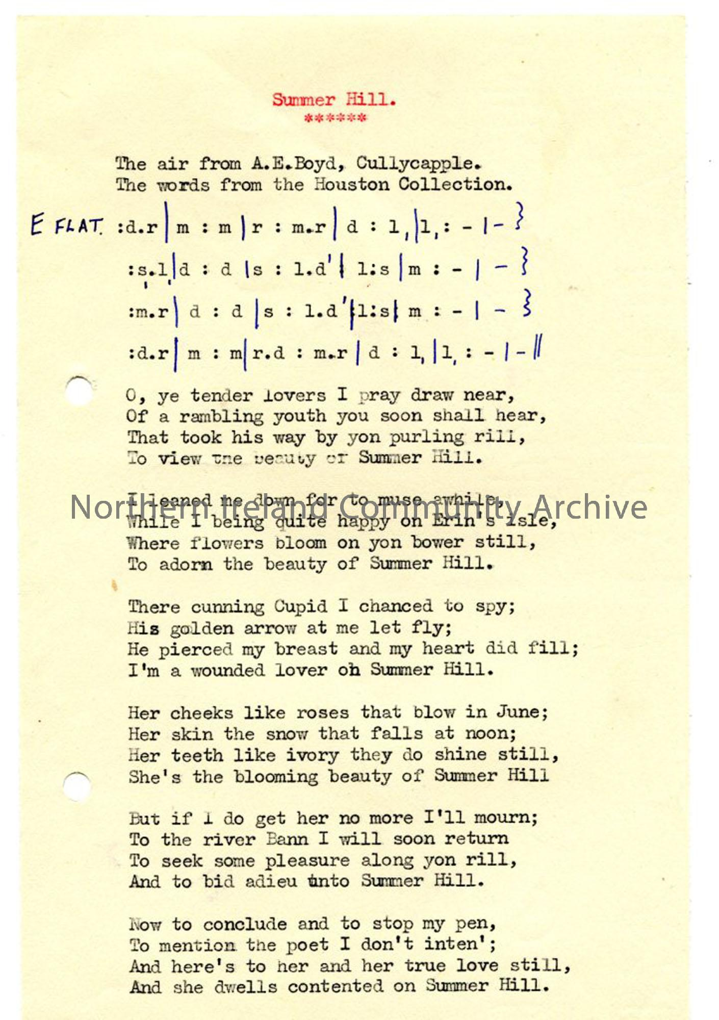 Typed words and tonic sol-fa notation of 'Summer Hill'