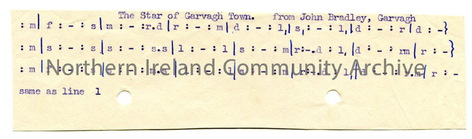 Typed tonic sol-fa notation to 'The Star of Garvagh Town'.