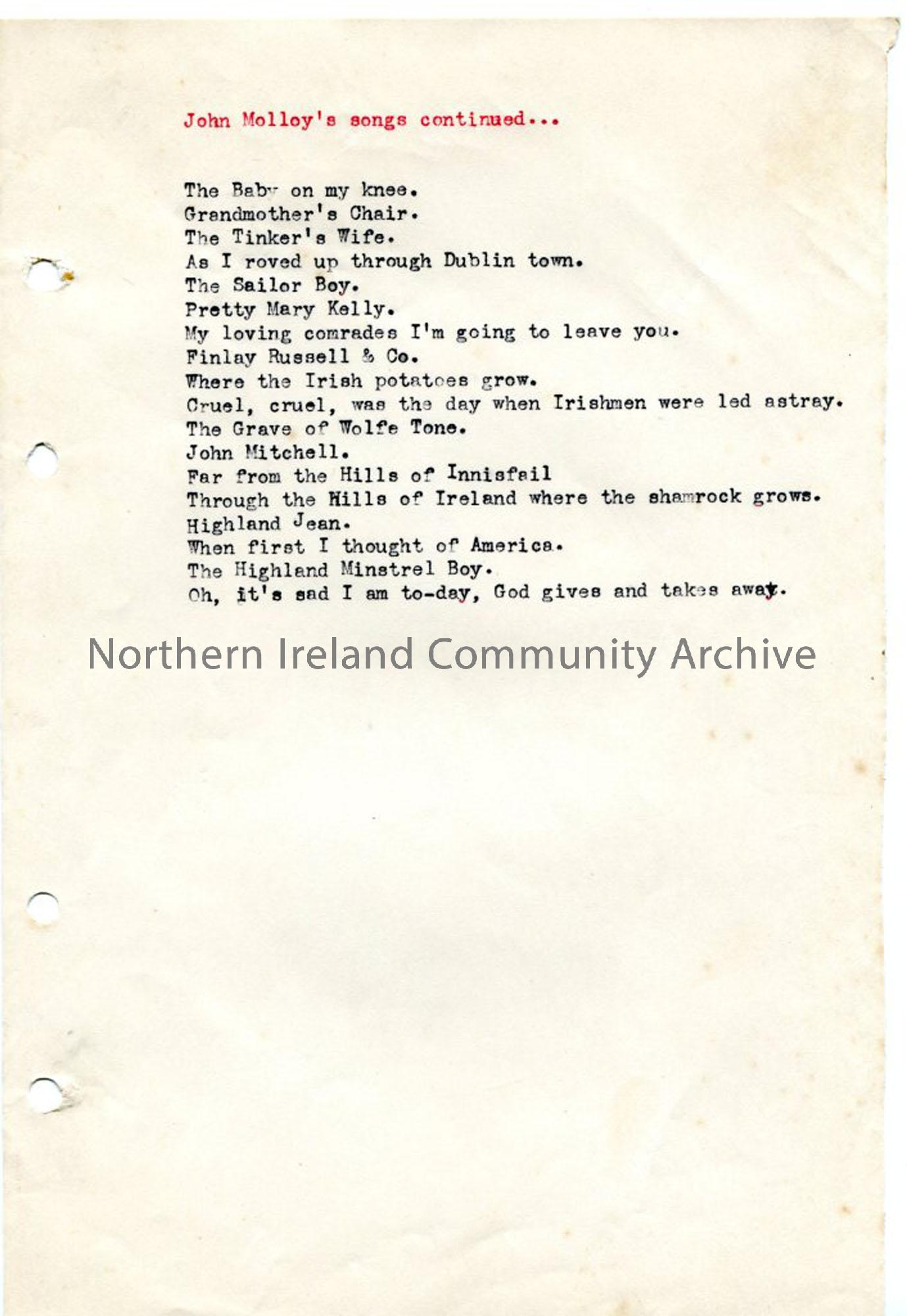 Page 2 – 'John Molloy's Songs'