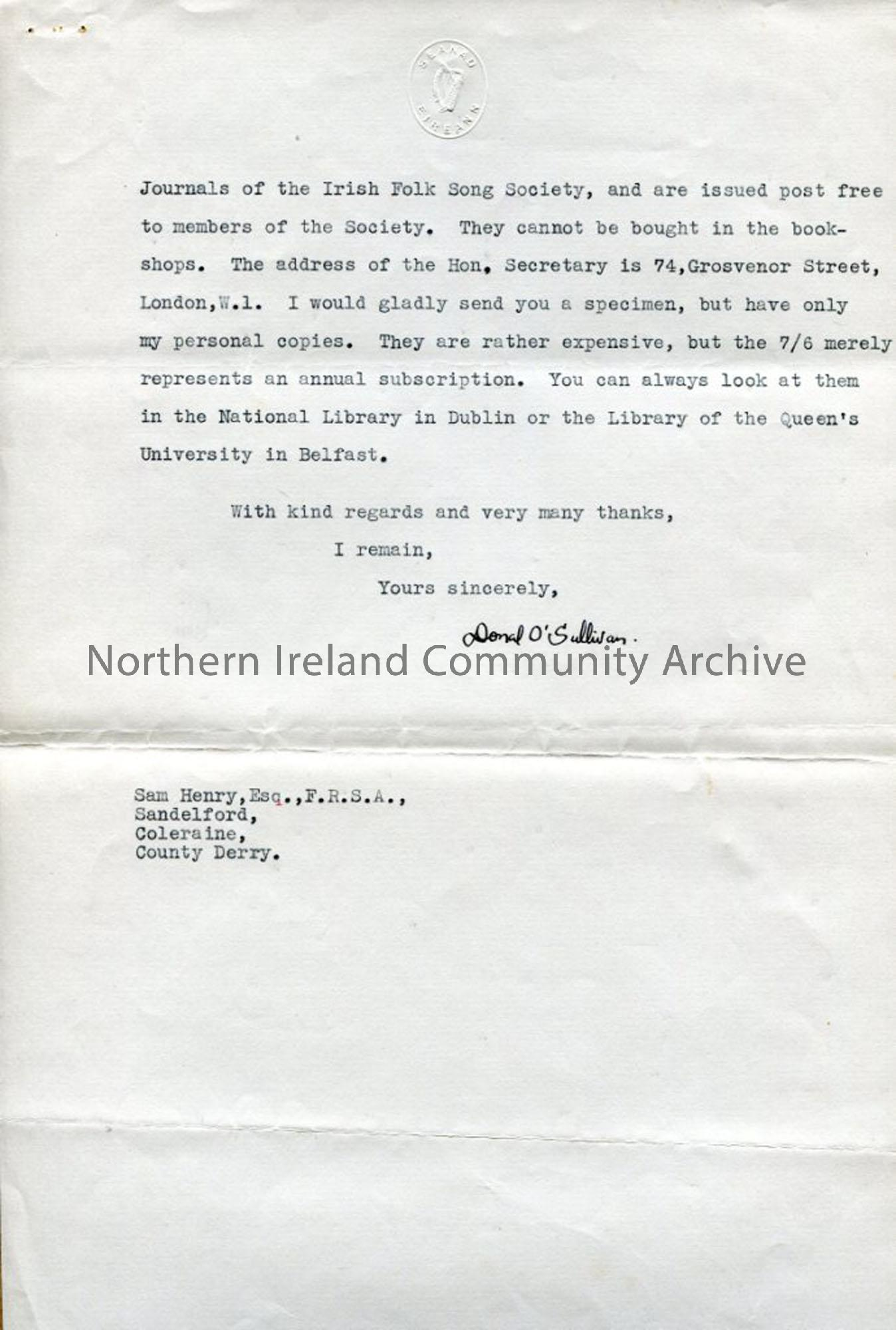 Page two of two – Letter from Donal O'Sullivan, 28.7.1936