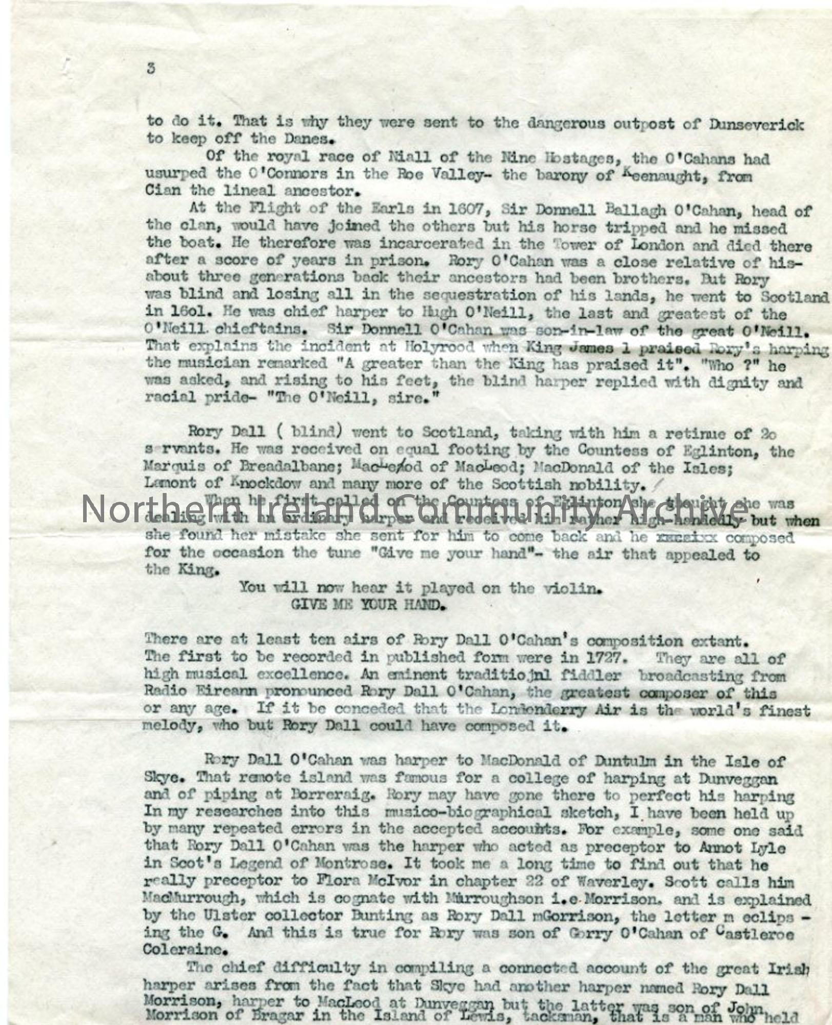 Page three of four typed pages titled 'Rory Dall O'Cahan. origin of the Londonderry Air'