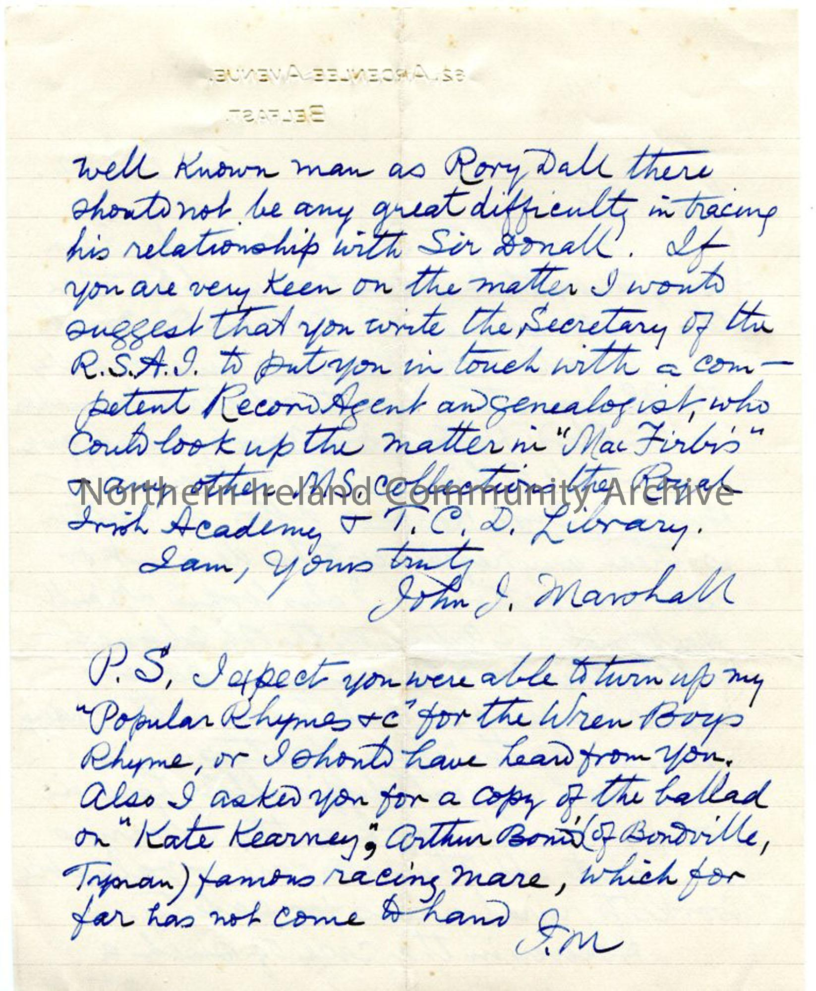 Page two of two – letter from John Marshall