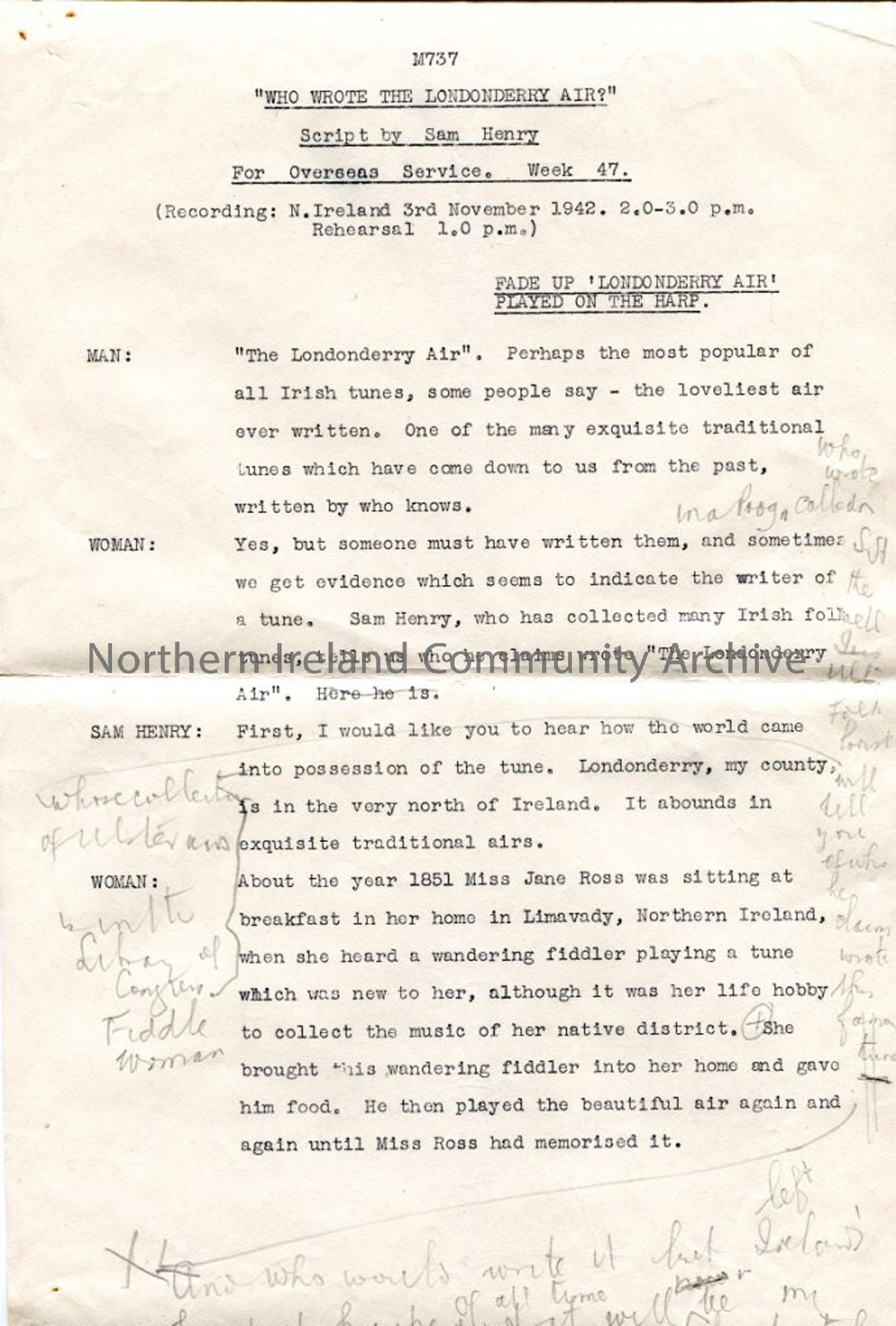 Page One of four pages – script for broadcast 'Who wrote the Londonderry Air?'
