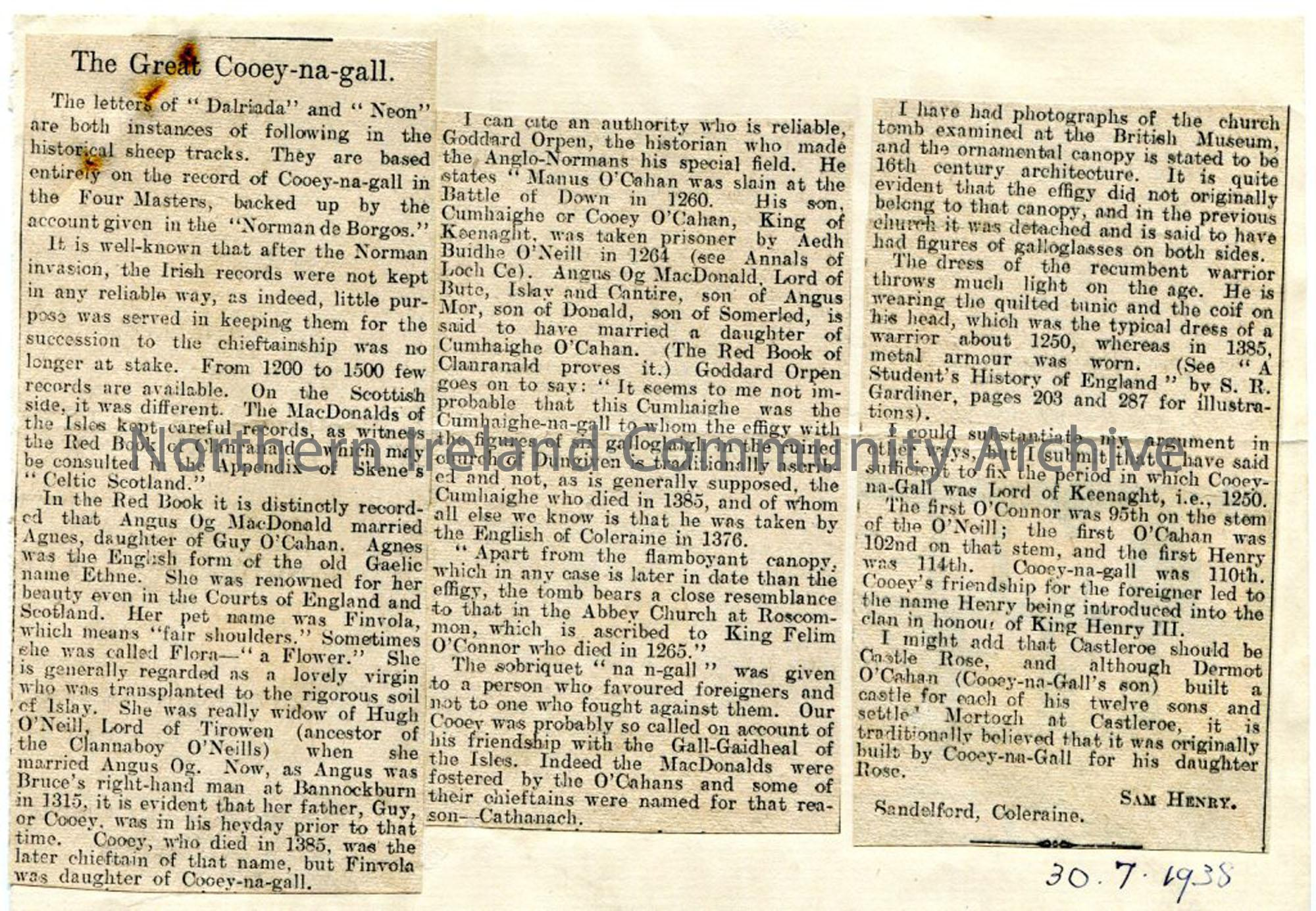 Newspaper cutting – 'The Great Cooey-na-gall'