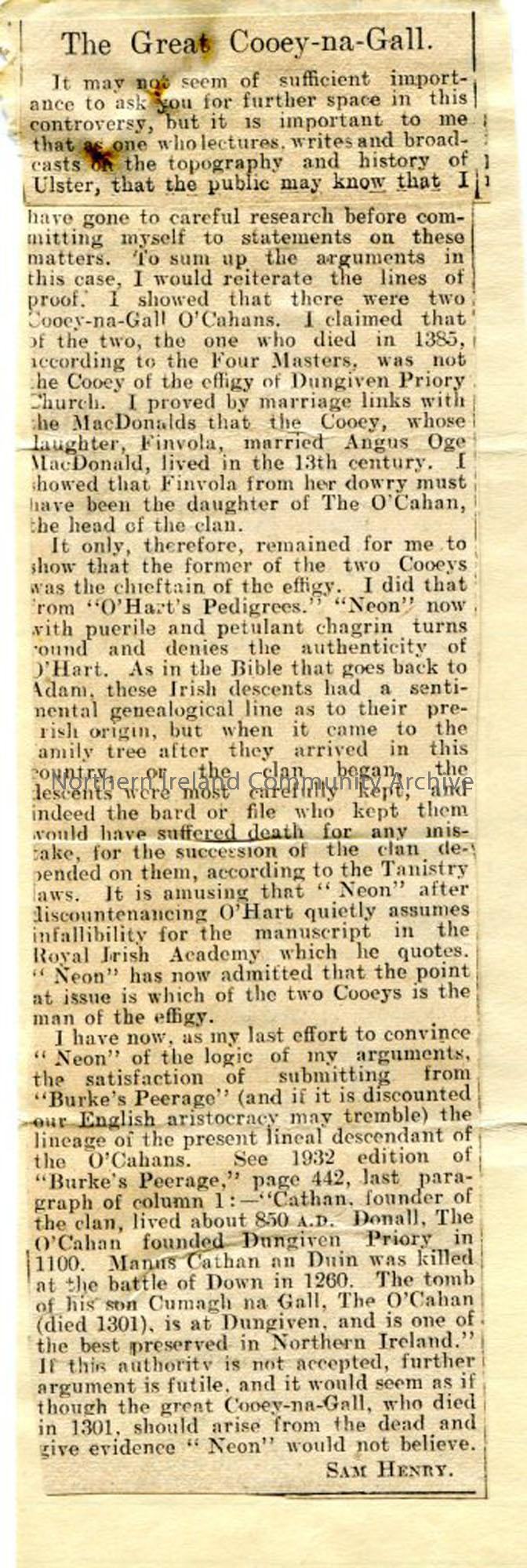 Newspaper cutting. letter from Sam Henry, 'titled 'The Great Cooey-na-gall'