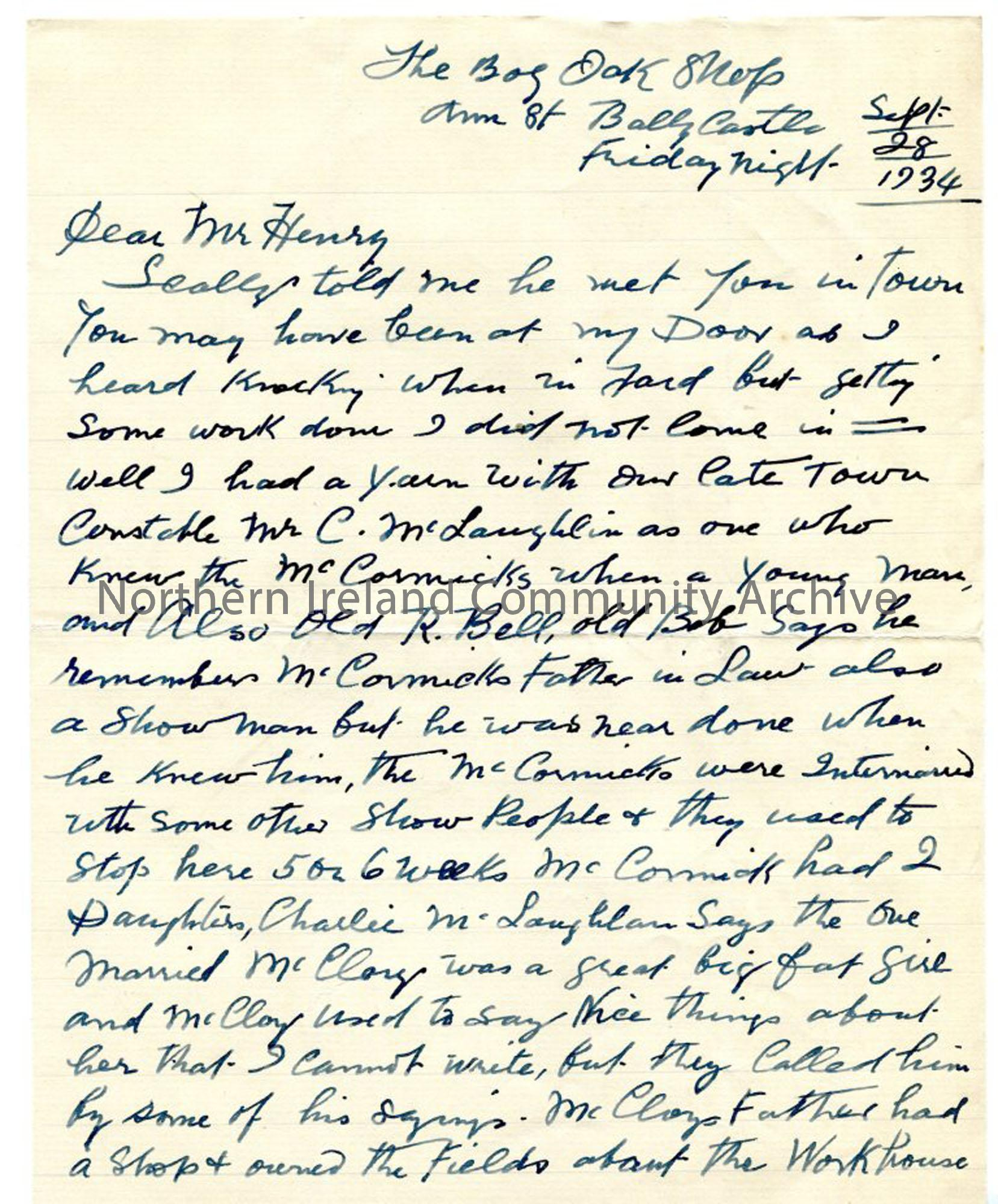 Letter, page 1 of 2, from John MacAulay, 28.9.1934