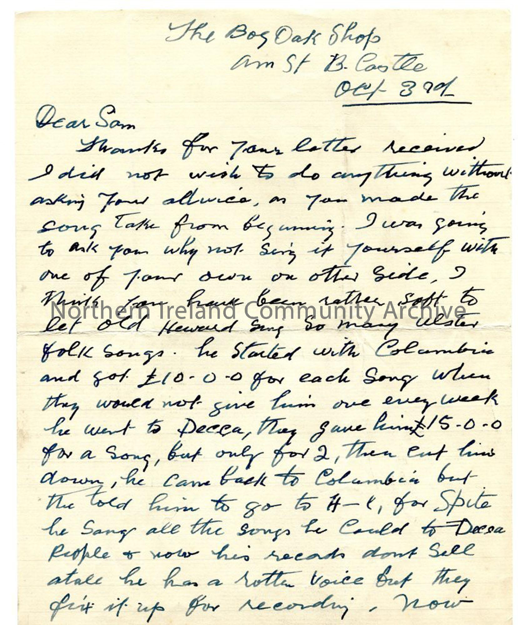 Page 1 of 2 – letter from John MacAulay, 3rd October