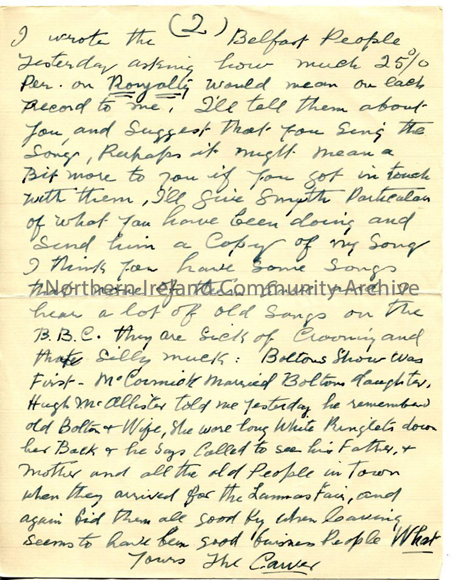 Page 2 of 2 – letter from John MacAulay, 3rd October