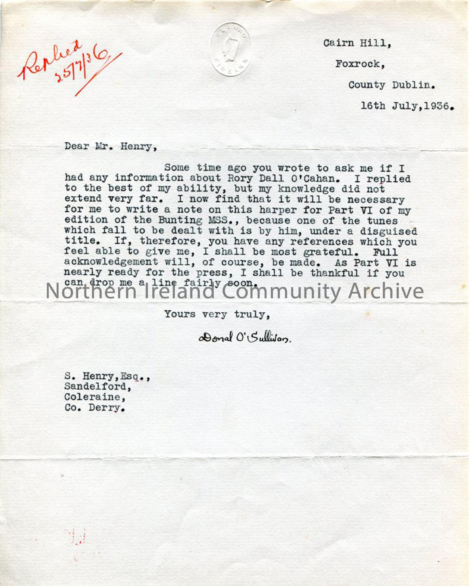 Letter From Donal O'Sullivan, dated 16.7.1936