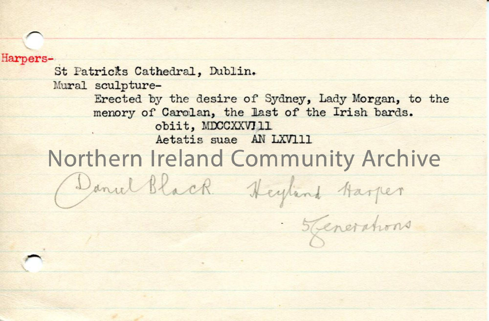 Typed notes re: sculpture in St Patrick's Cathedral to Carolan, an Irish bard and harper