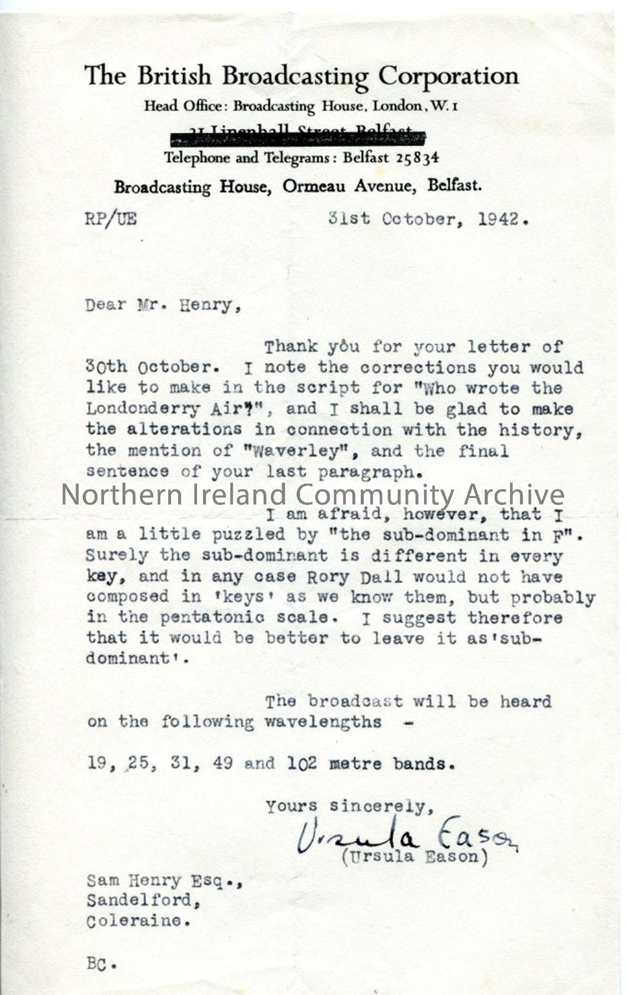 Letter from Ursula Eason of the BBC, 31.10.1942.