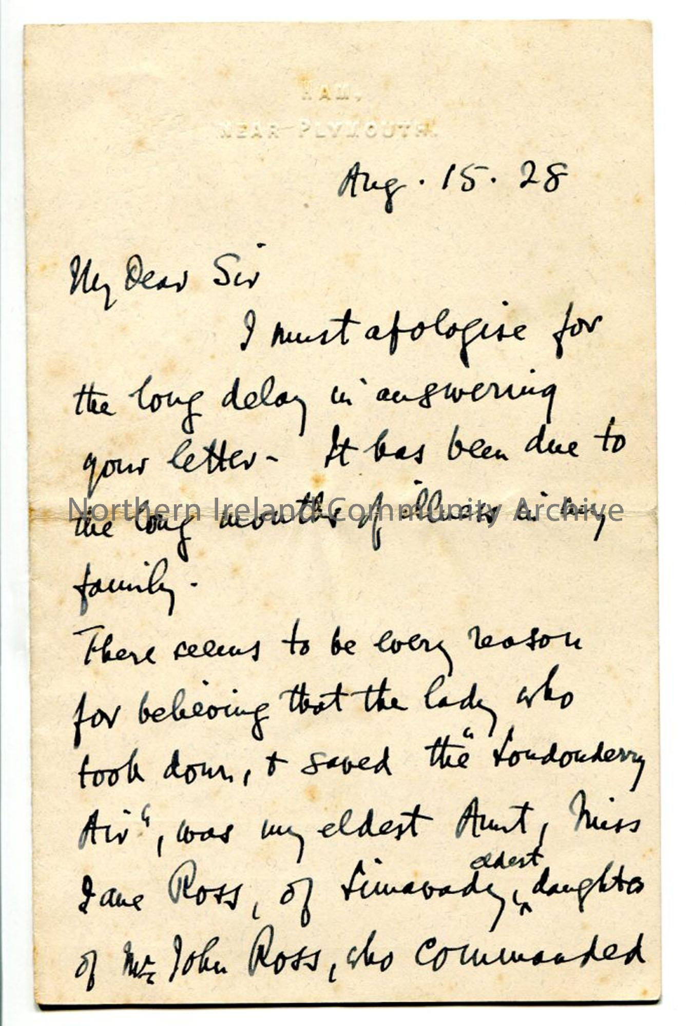 Page one of letter from Rev Trelawney-Ross, dated 15.8.1928