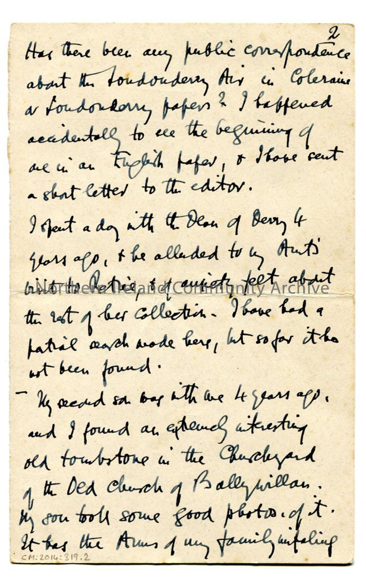 Page four of letter from Rev Trelawney-Ross, dated 15.8.1928