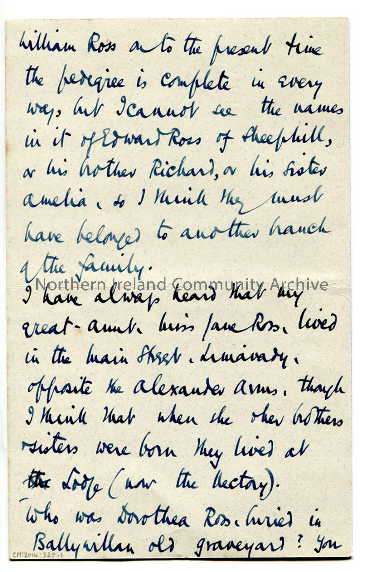 Page three of letter from Rev Trelawney-Ross, 25.9.1942