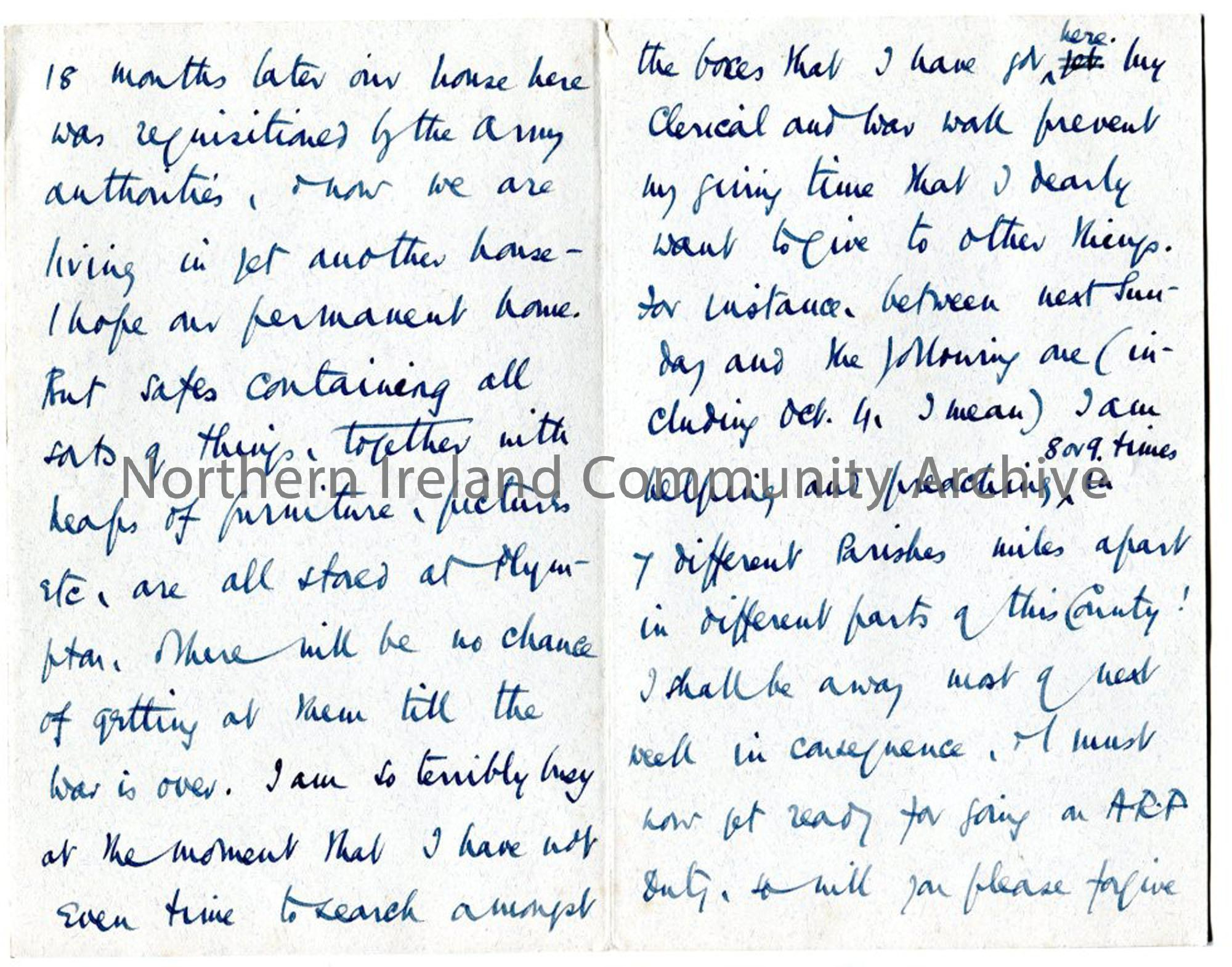 Page five of letter from Rev Trelawney-Ross, 25.9.1942