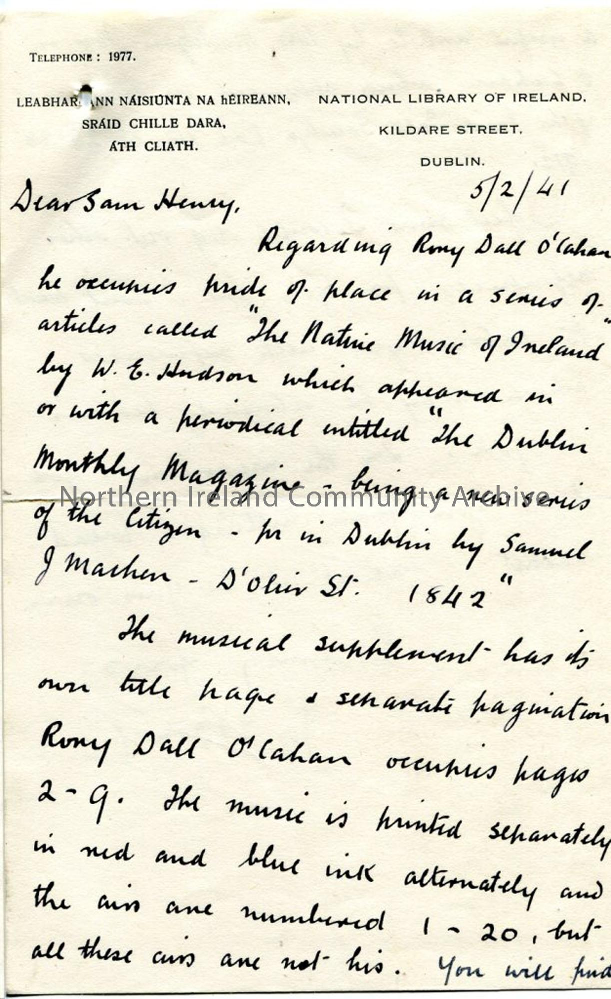 Page one: letter from JJ Bonch of National Library of Ireland, dated  5.2.1941.