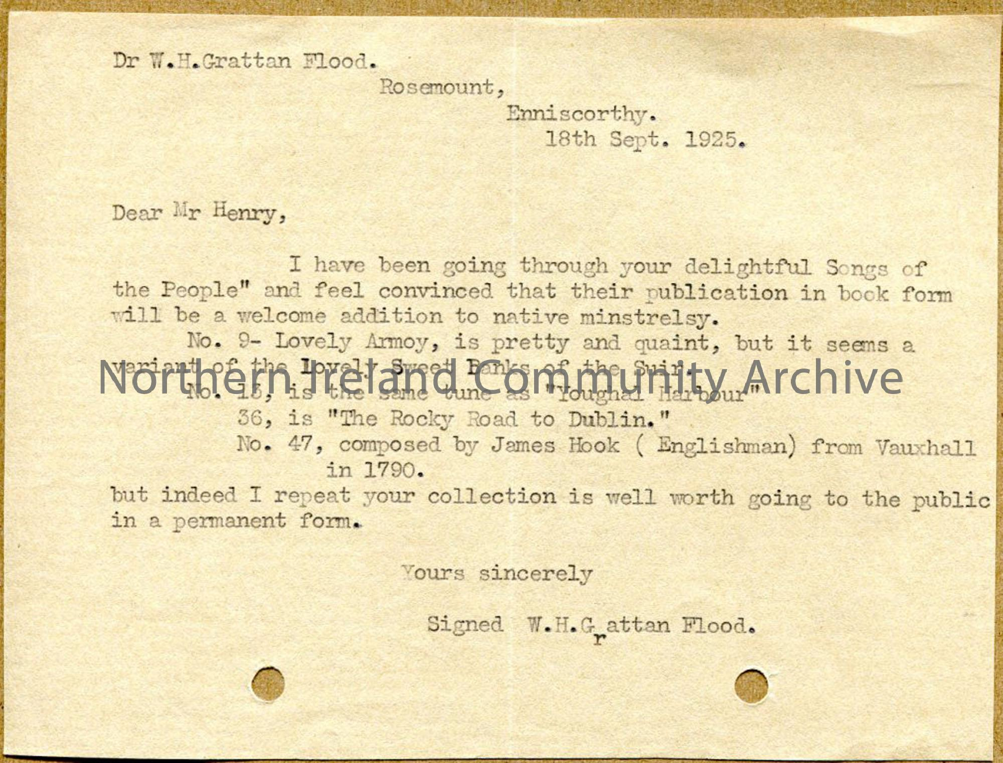 Letter from W.H.G Grattan, dated 18.9.1925