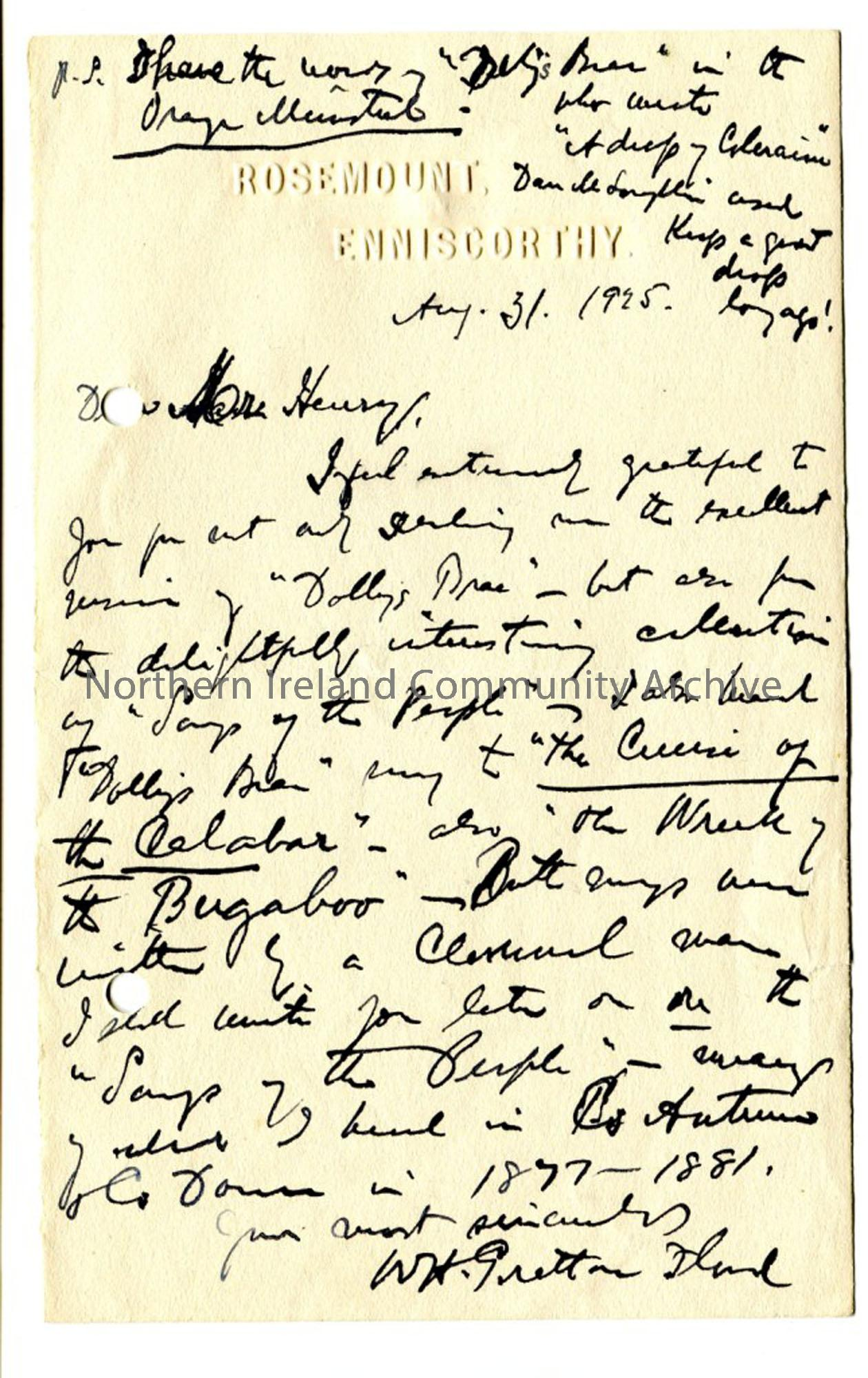 Letter from W H G Grattan Flood, dated 31.8.1925