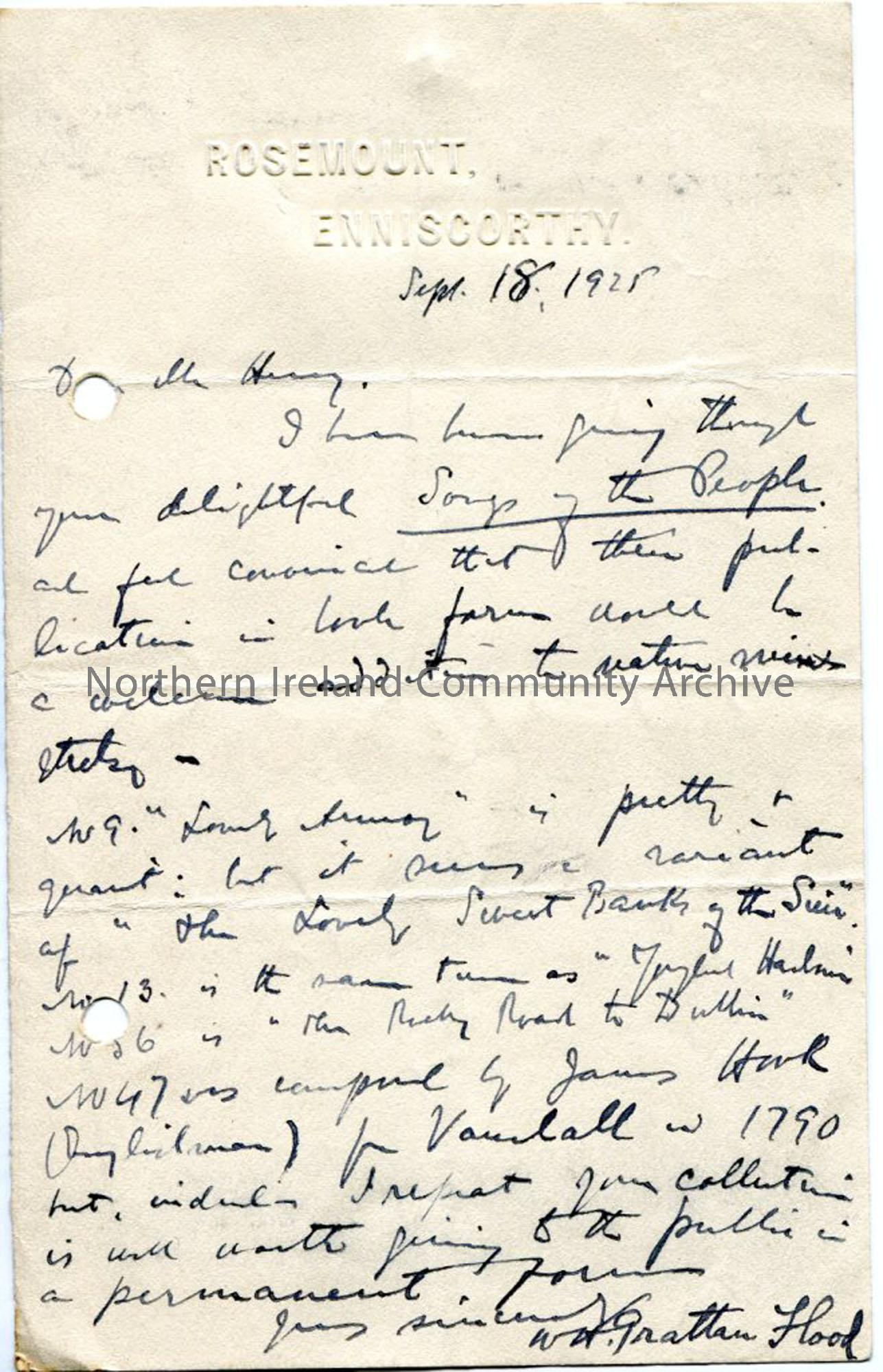 Letter from W H Grattan Flood, dated 18.9.1925