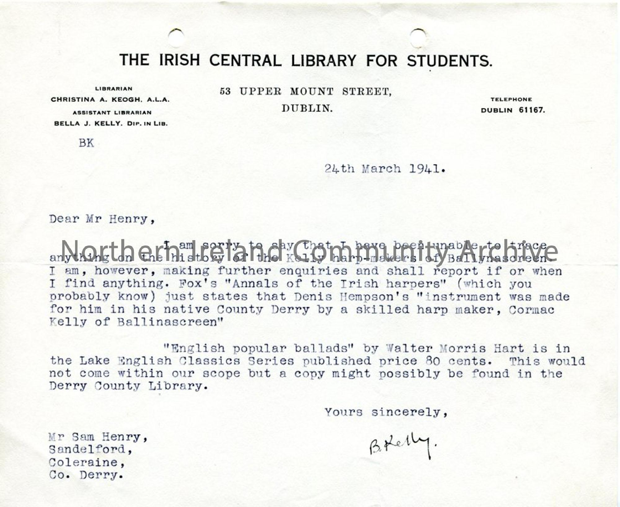 Typed letter from B  Kelly regarding harp makers – NI Archive