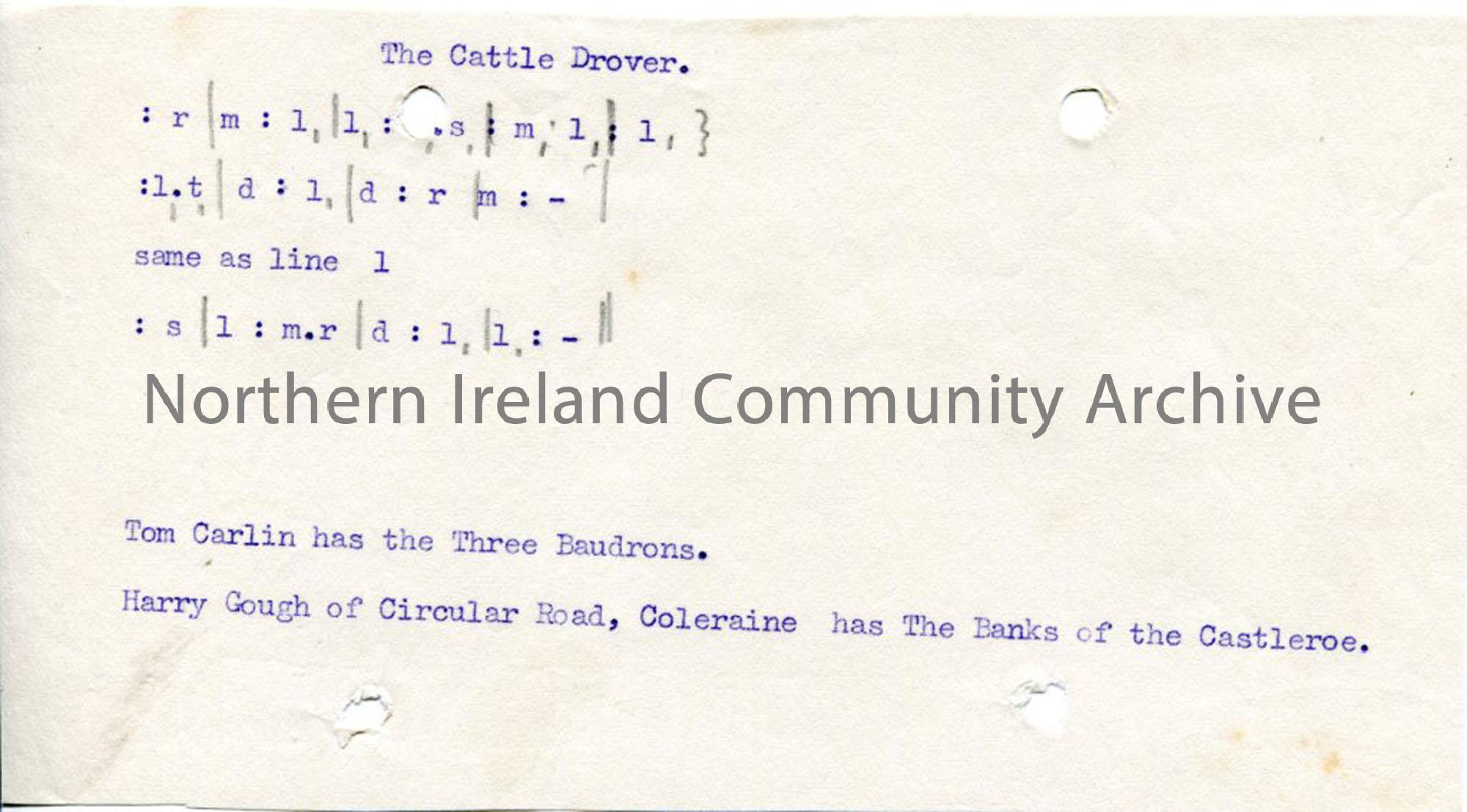 Typed tonic sol-fa notation to 'The Cattle Drover'