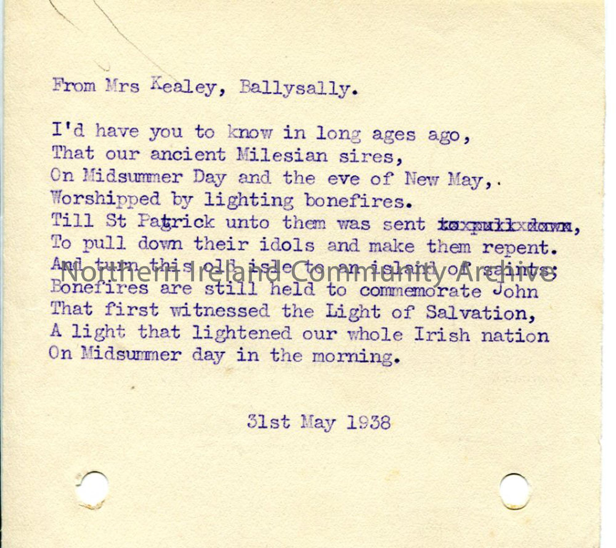 Untitled song from Mrs Kealey, 31st May 1938