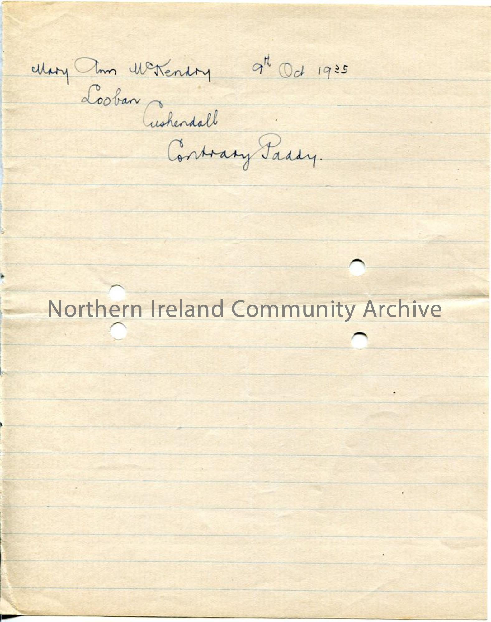 Handwritten document 'Contrary Paddy'