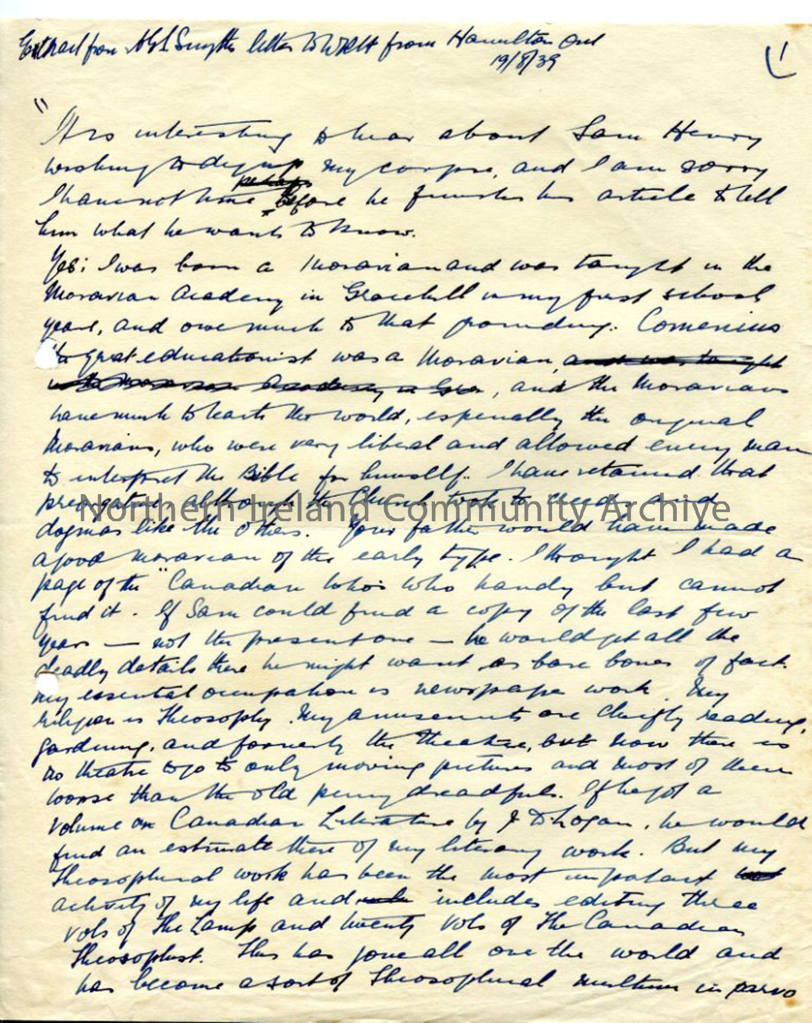 Handwritten extract from letter