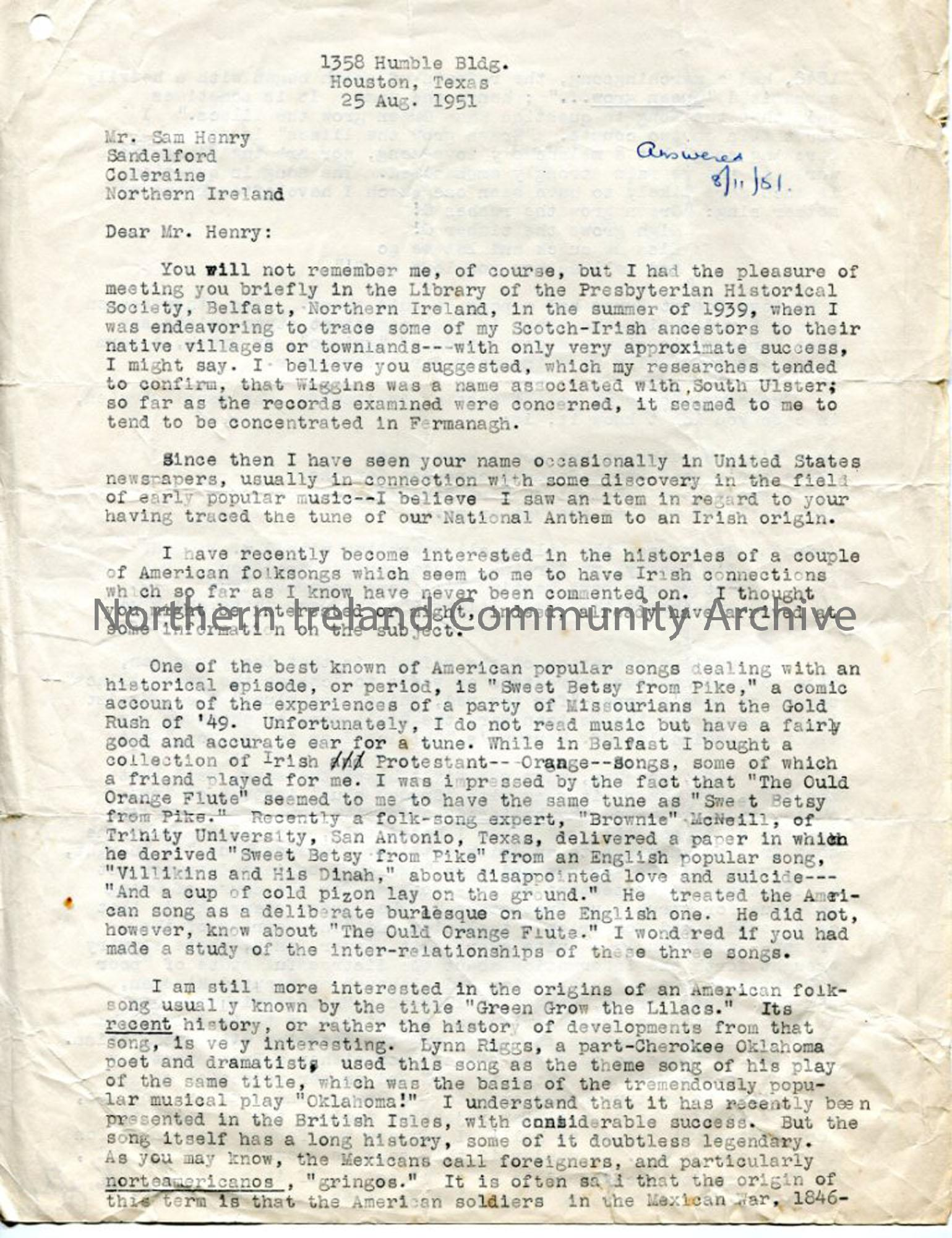 Page 1: Letter from Mr Porter, 25.8.1951