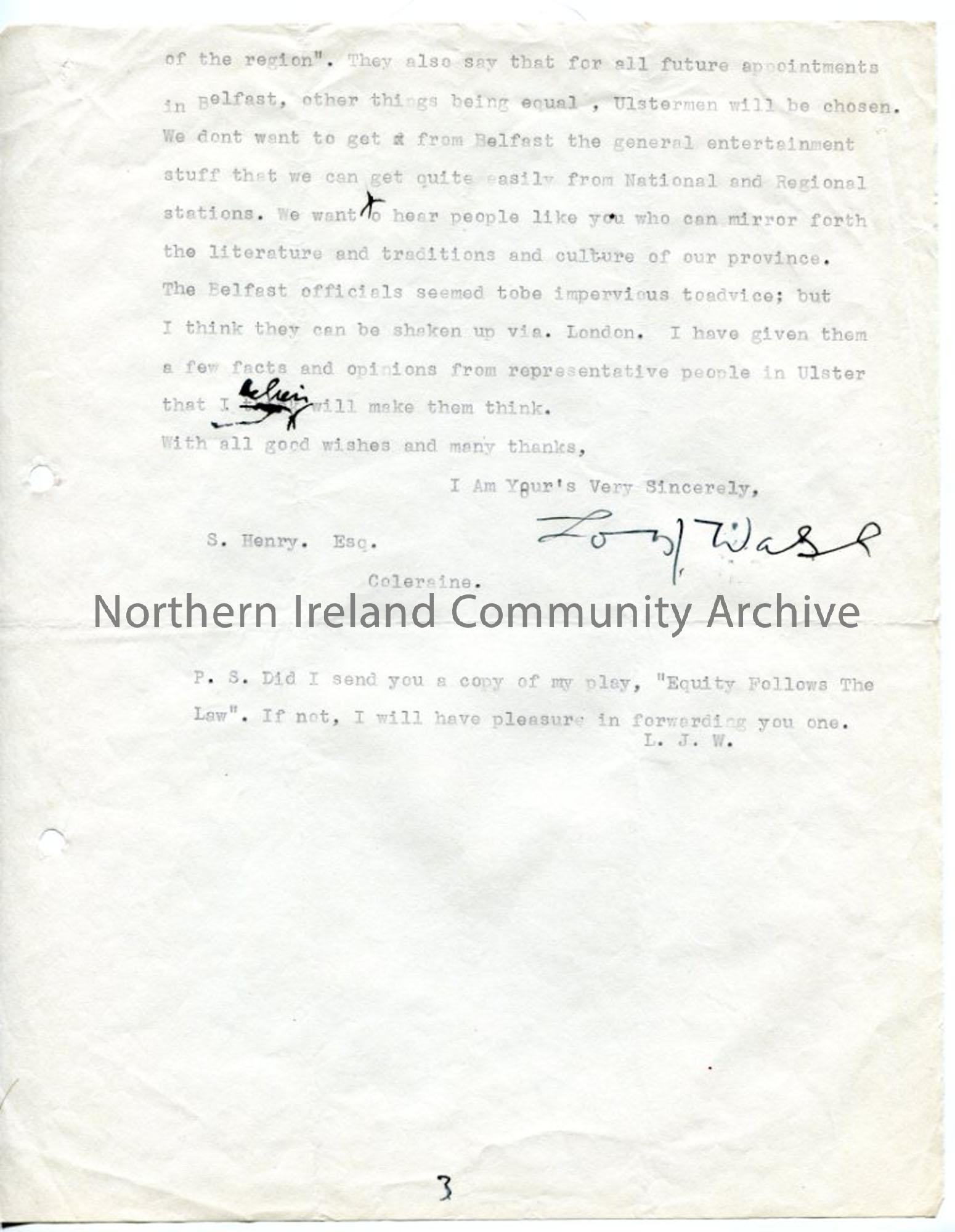 Page 3 of 3: Letter from Louis Walsh, 31.8.1937