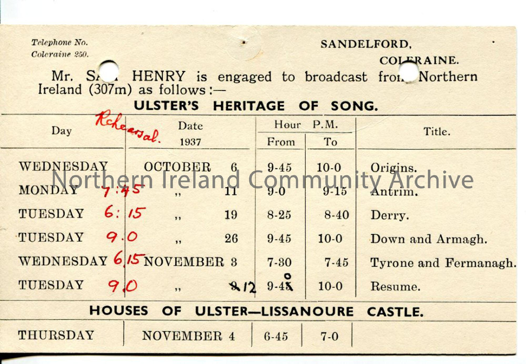 Postcard with dates for 'Ulster Heritage of Song' programmes