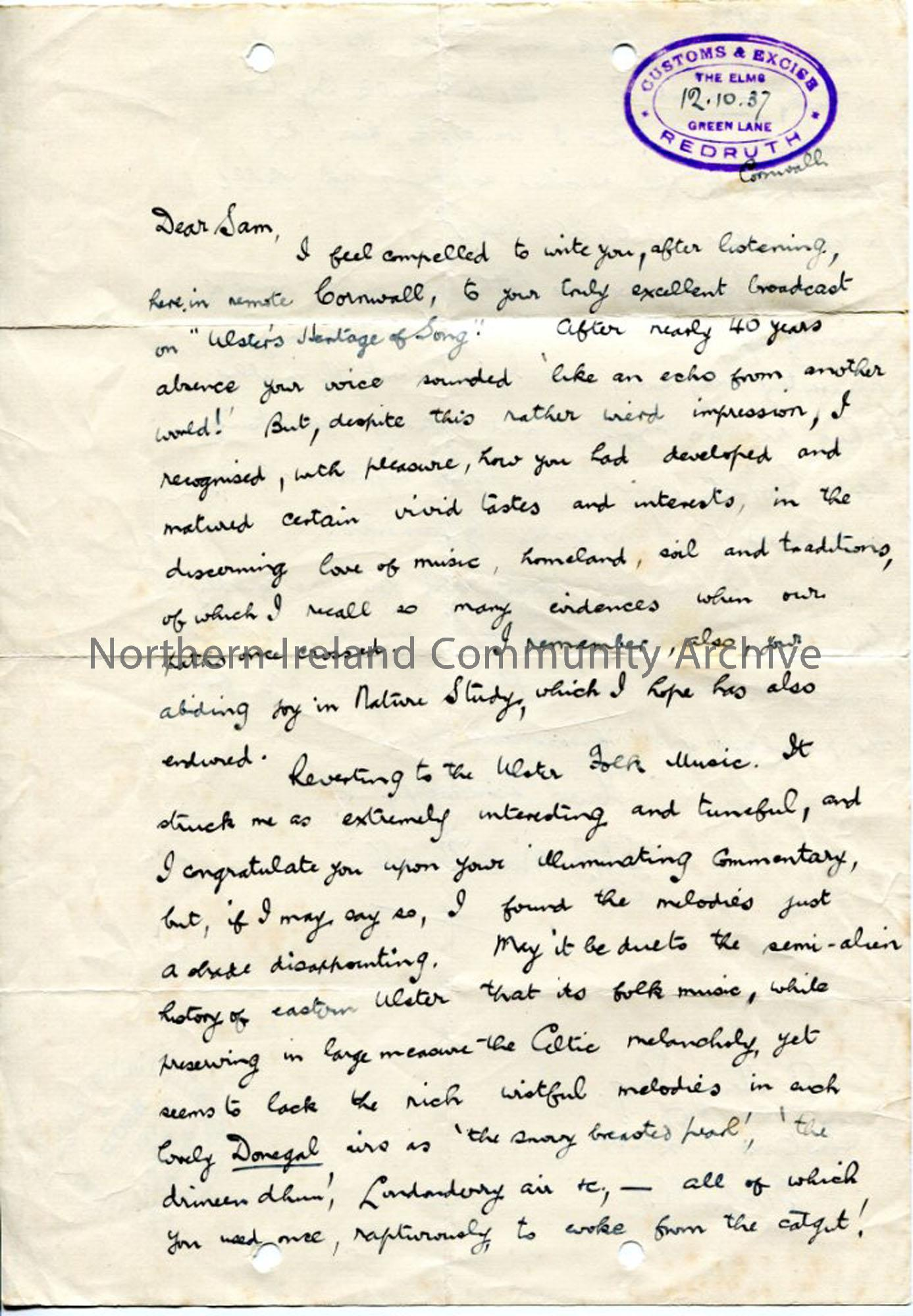 Page 1 of 2: Letter from F. J. B. MacDowell, 12.10.1937