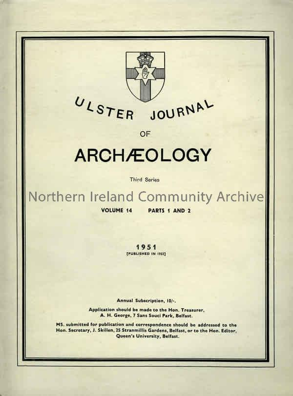 book titled, Ulster Journal of Archaeology. Third Series Volume 14, parts 1 and 2.1951 (1530)