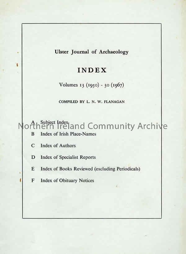 book titled, Ulster Journal of Archaeology. Index, Volumes 13 (1950)-30 (1967) (6399)