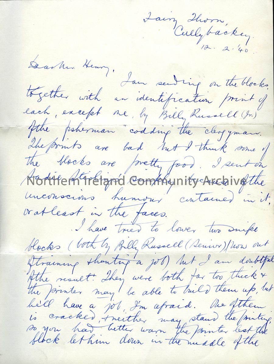 Letter from R L Russell, 12.2.1940