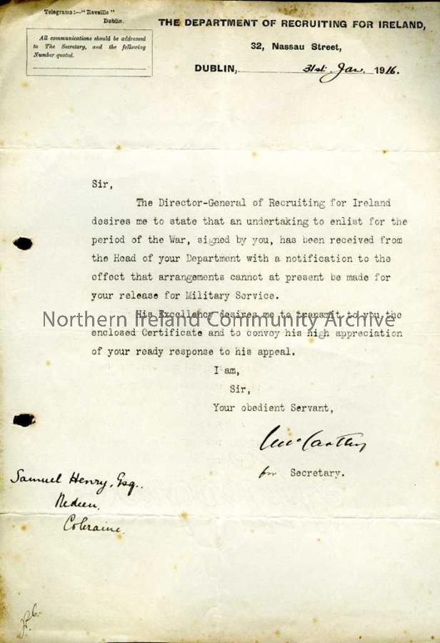 Sam Henry Enlistment Letter