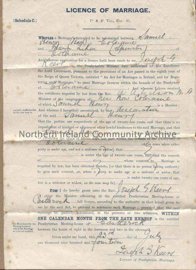 Marriage License (6785)