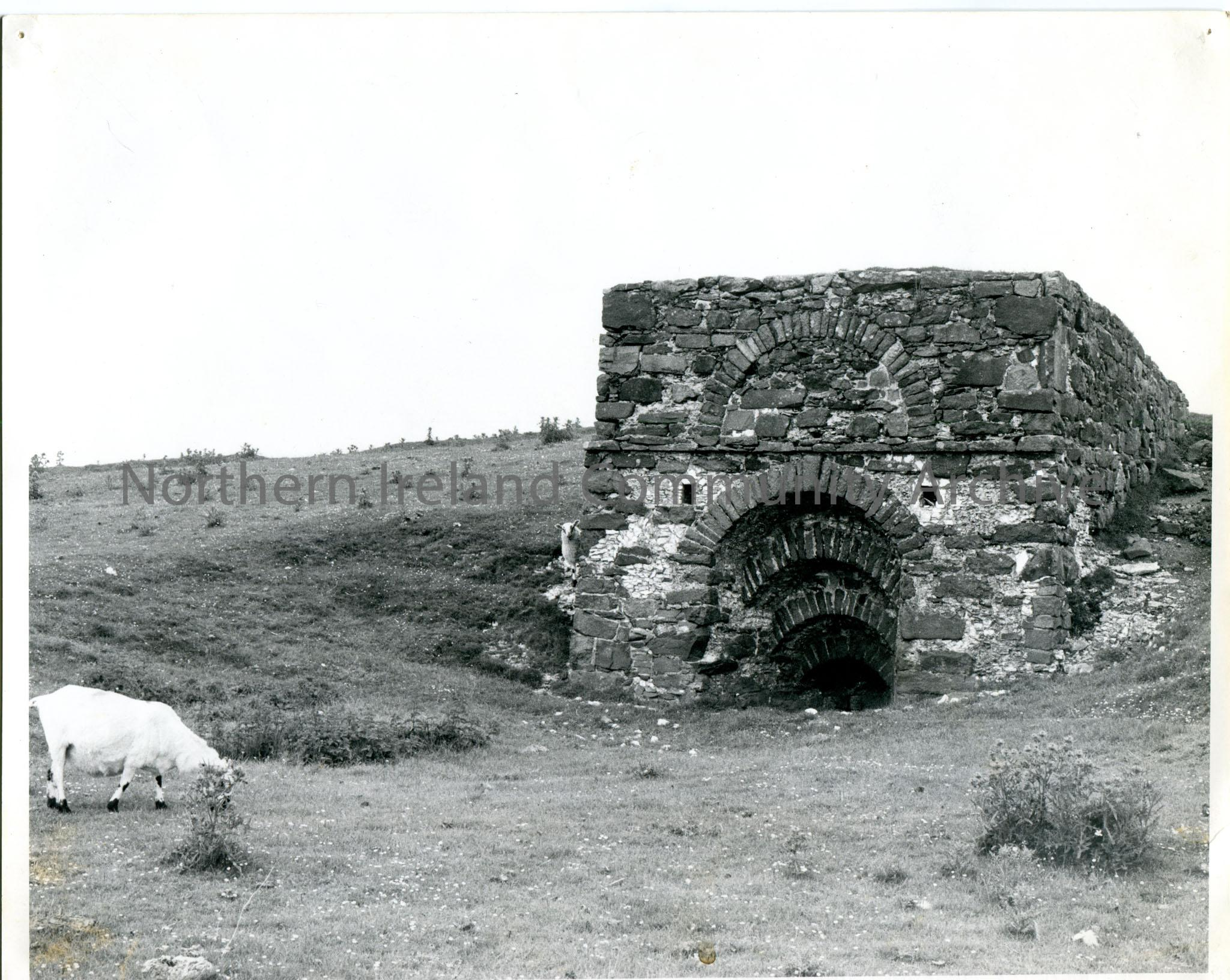 B/W photograph of one of two lime kilns situated along the road to Murlough Bay.