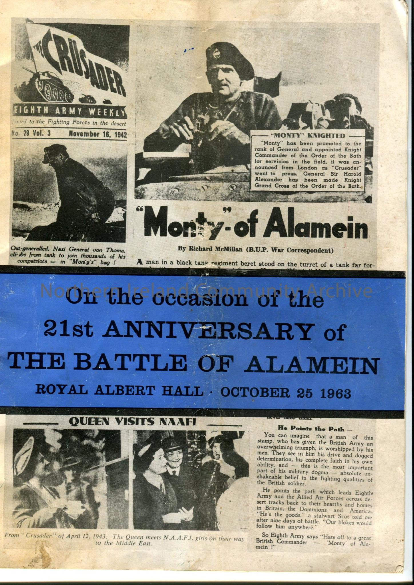 "Programme ""On the occasion of the 21st Anniversary of the Battle of Alamein, Royal Albert Hall, October 25 1963."" Newspaper style cover with blue band…"