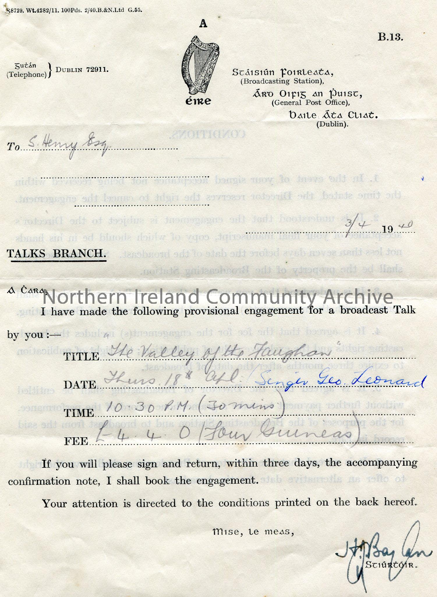 Letter from the Broadcasting Station, General Post Office, Dublin. Dated 3rd April, 1940. Titled Talks Branch. Requesting for an engagement for a broa…