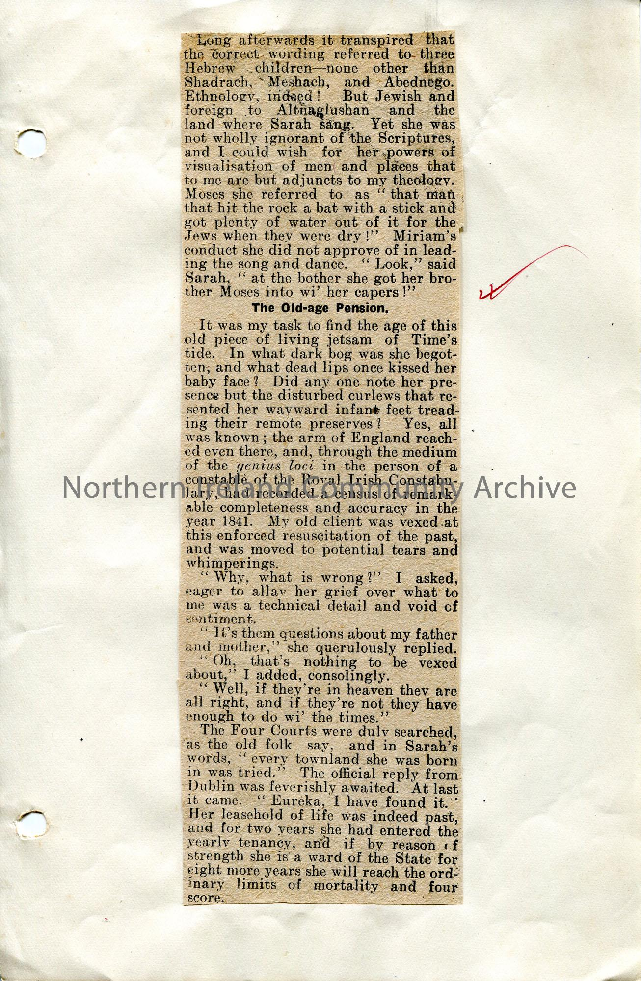 Page 3 of 4. Article cut from a newspaper titled, 'An Old Woman of the Roads' by Sam Henry. Re Sam's visit to widow Sarah Mulgrew. Described as an 'ol…