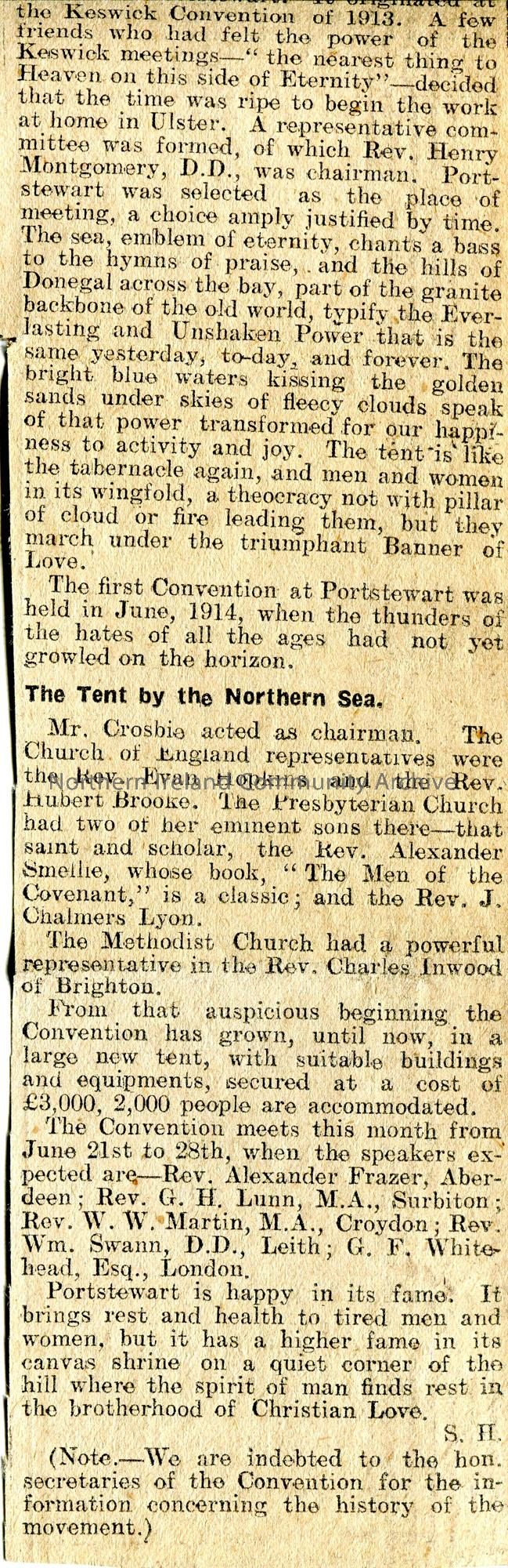 Article cut from the Northern Constitution newspaper and pasted to page. Titled, 'North of Ireland Keswick Convention. The History of a Great Crusade'… – scan112c
