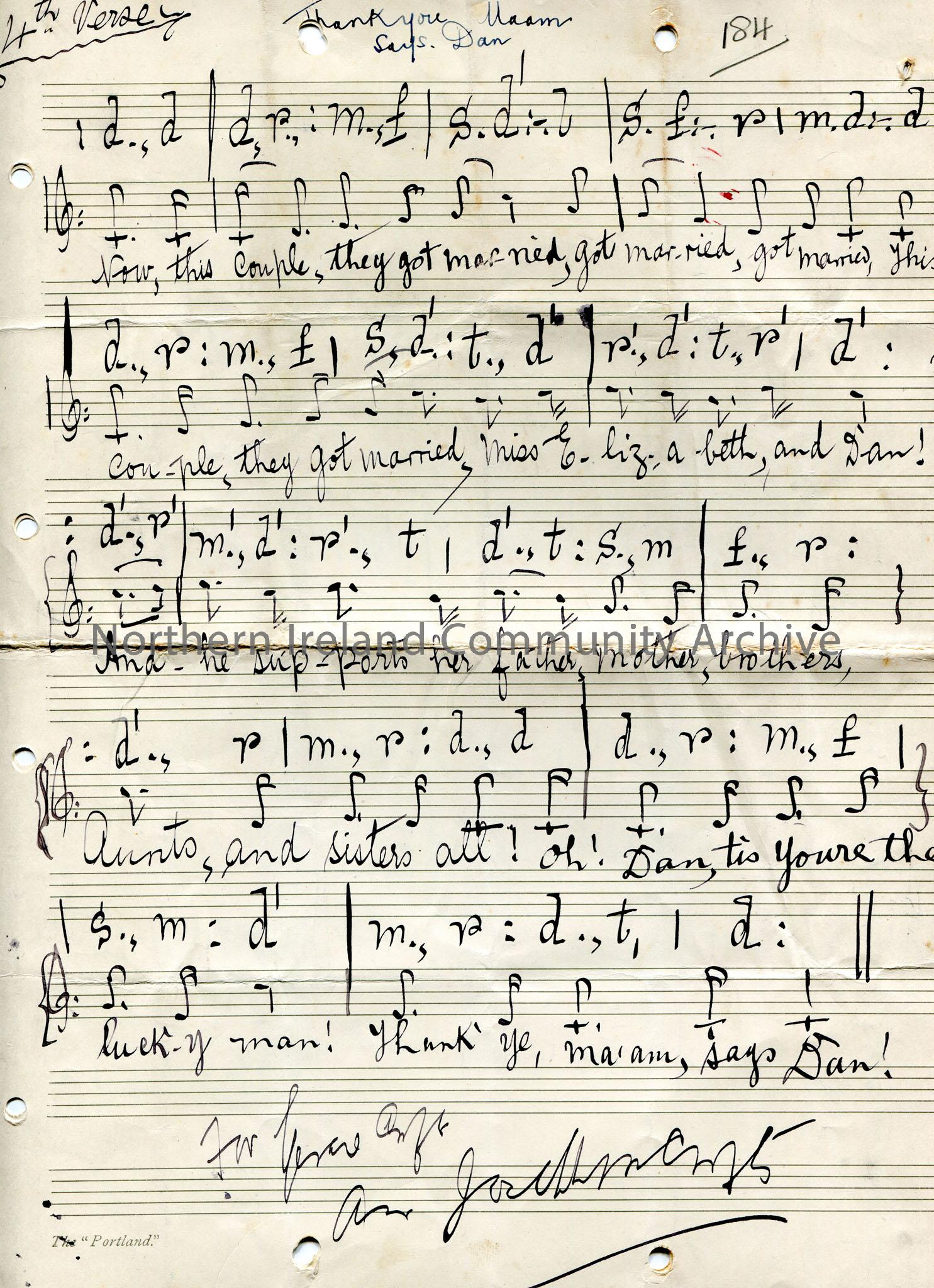 Handwritten tonic sol-fa notation titled, 'Thank you Maam. Says Dan'. written over a booklet of two pages and four sides. Each side has one verse writ… – scan052d