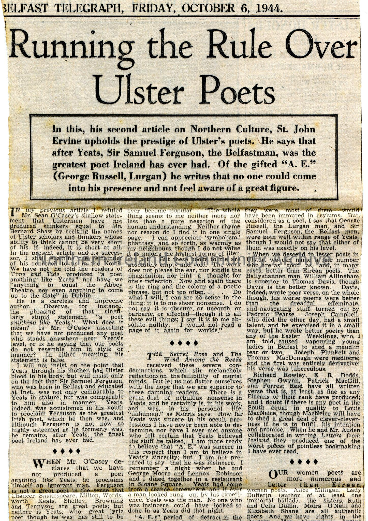 Article from the 'Belfast Telegraph' newspaper. Dated Friday, 6th October, 1944. Titled, 'Running the Rule Over Ulster Poets'. The second article by S…